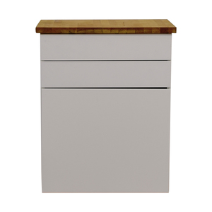 IKEA IKEA White Butcher Block Counter Cabinet with Two Drawers used