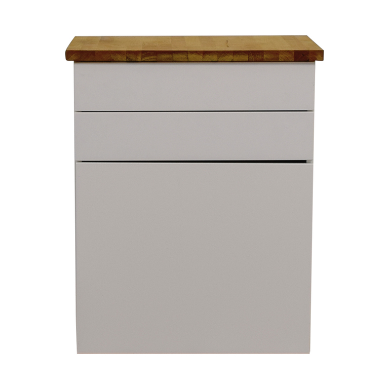 shop IKEA White Butcher Block Counter Cabinet with Two Drawers IKEA