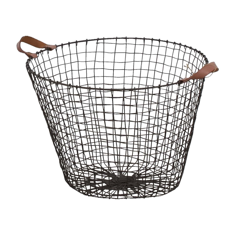 HomeGoods HomeGoods Metal and Leather Basket on sale