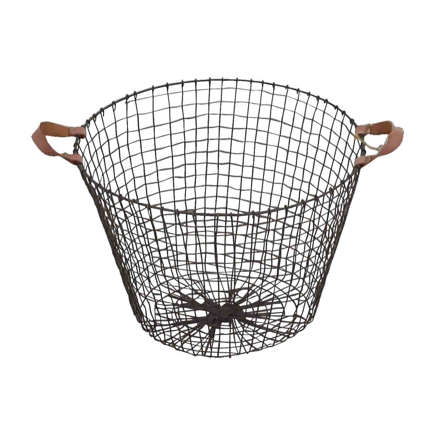 HomeGoods HomeGoods Metal and Leather Basket Decorative Accents