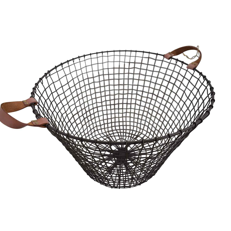 HomeGoods Metal and Leather Basket / Decor