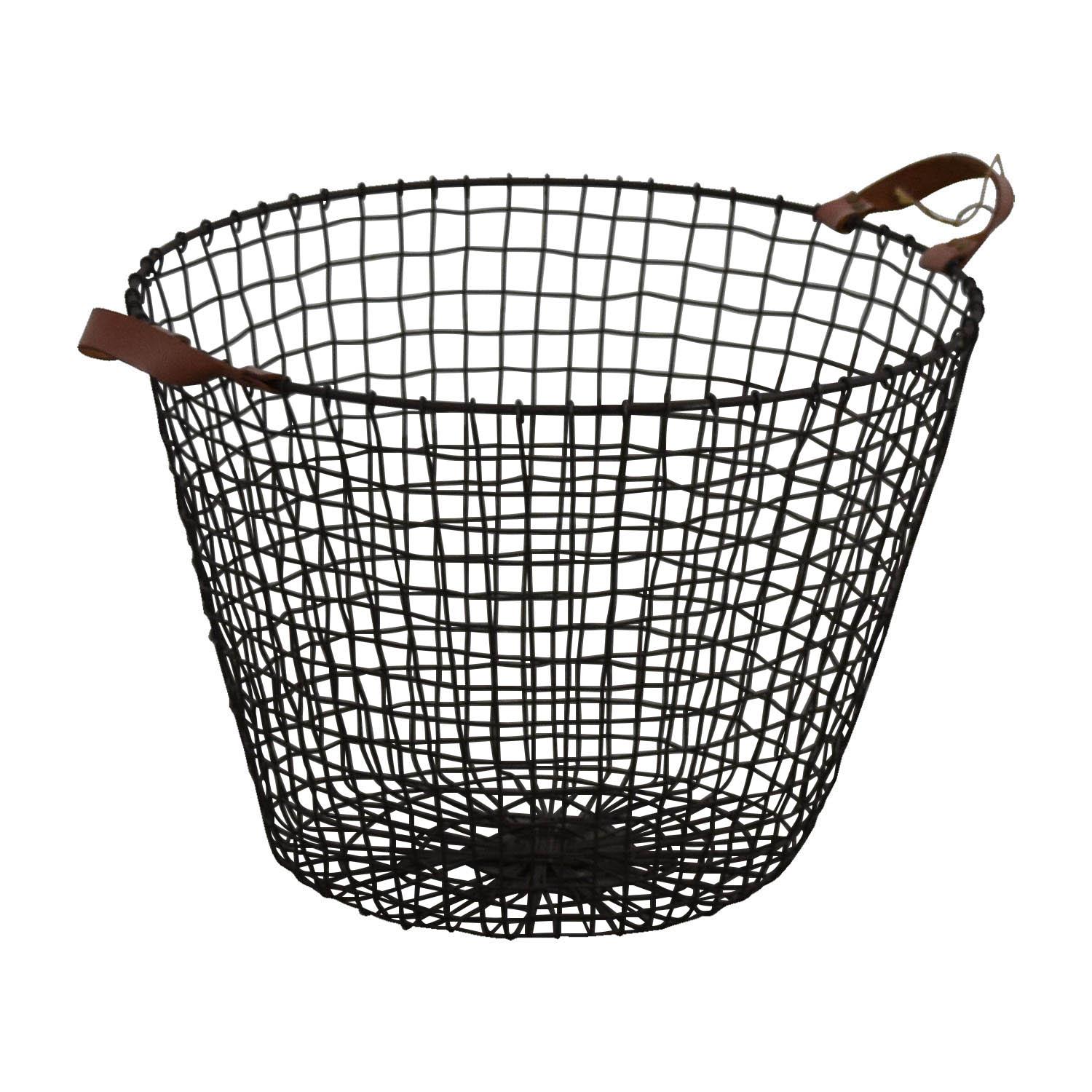 shop HomeGoods Metal and Leather Basket HomeGoods