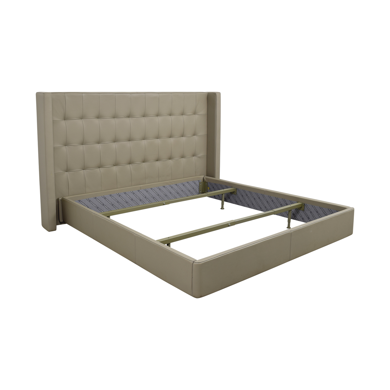 90 off roche bobois roche bobois king beige tufted leather bed frame beds. Black Bedroom Furniture Sets. Home Design Ideas