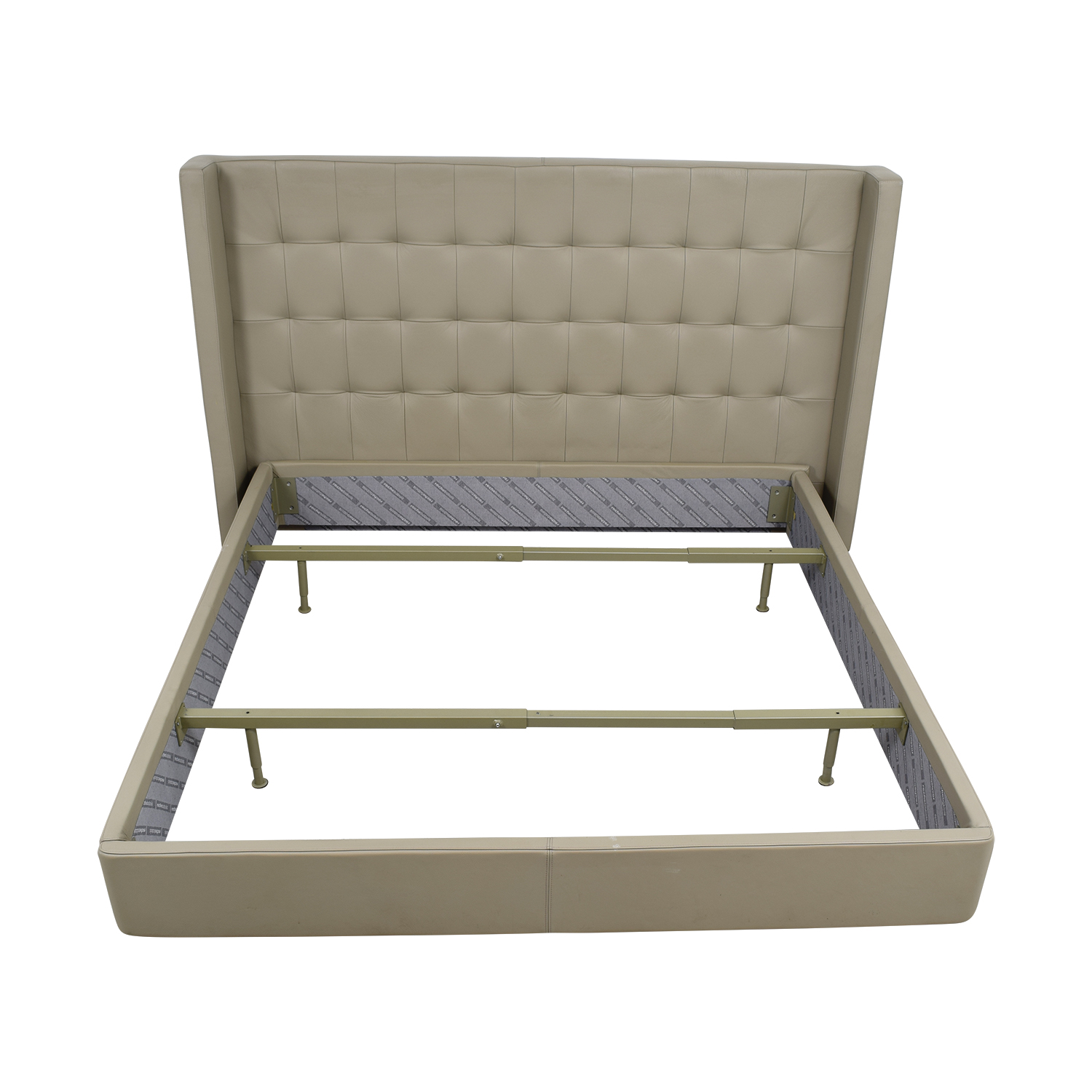 Roche Bobois King Beige Tufted Leather Bed Frame / Beds