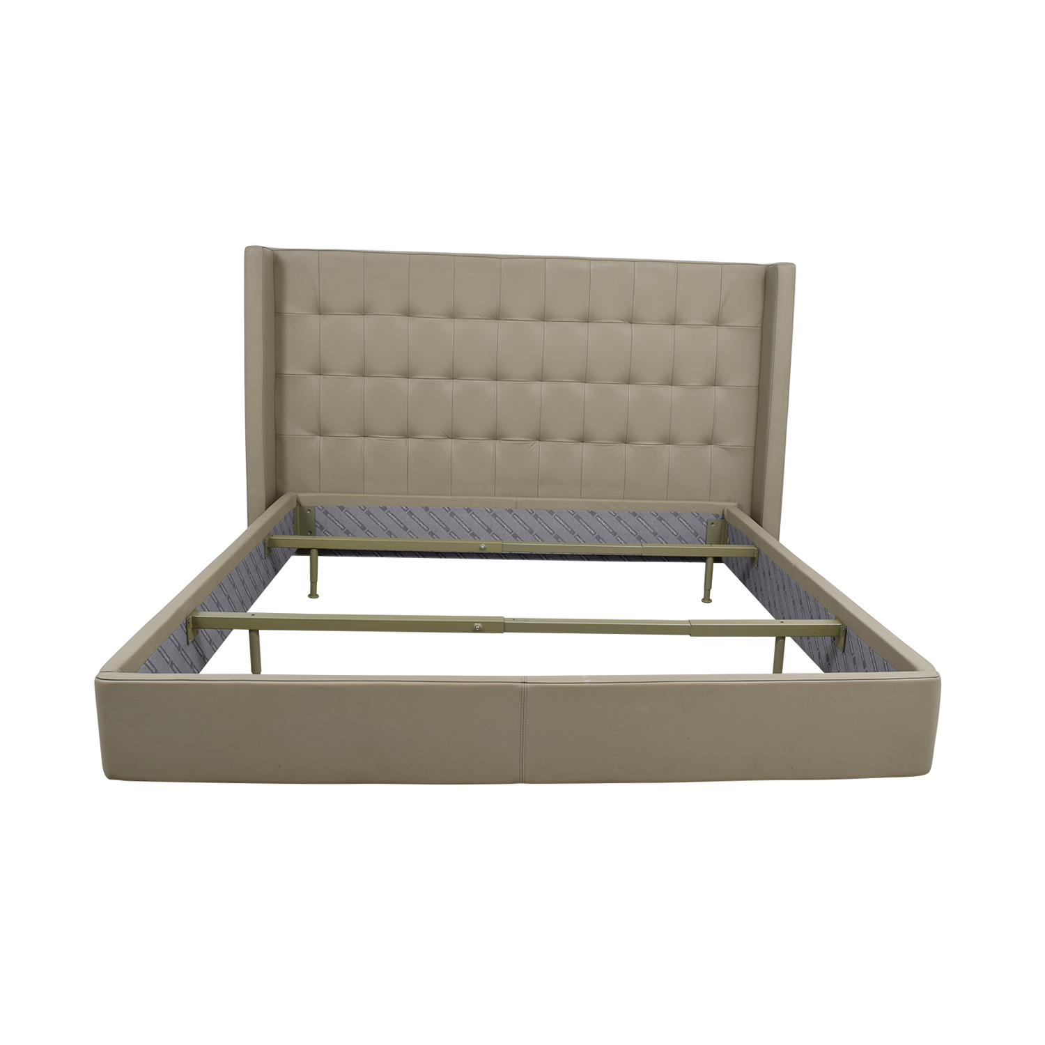 Roche Bobois Roche Bobois King Beige Tufted Leather Bed Frame nj