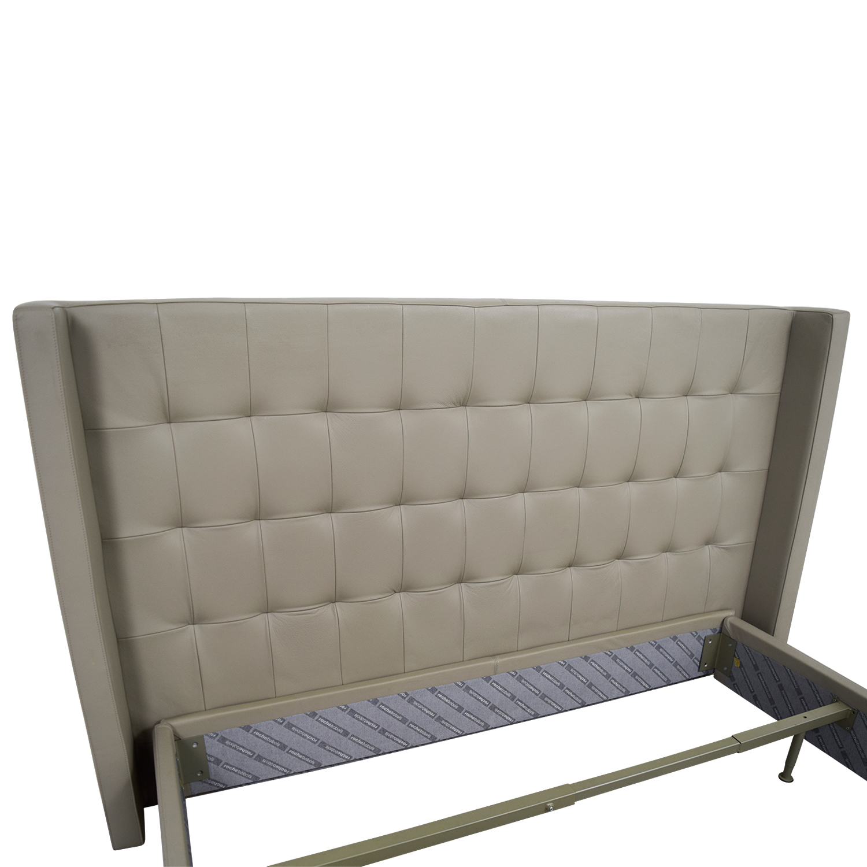 90 off roche bobois roche bobois king beige tufted. Black Bedroom Furniture Sets. Home Design Ideas