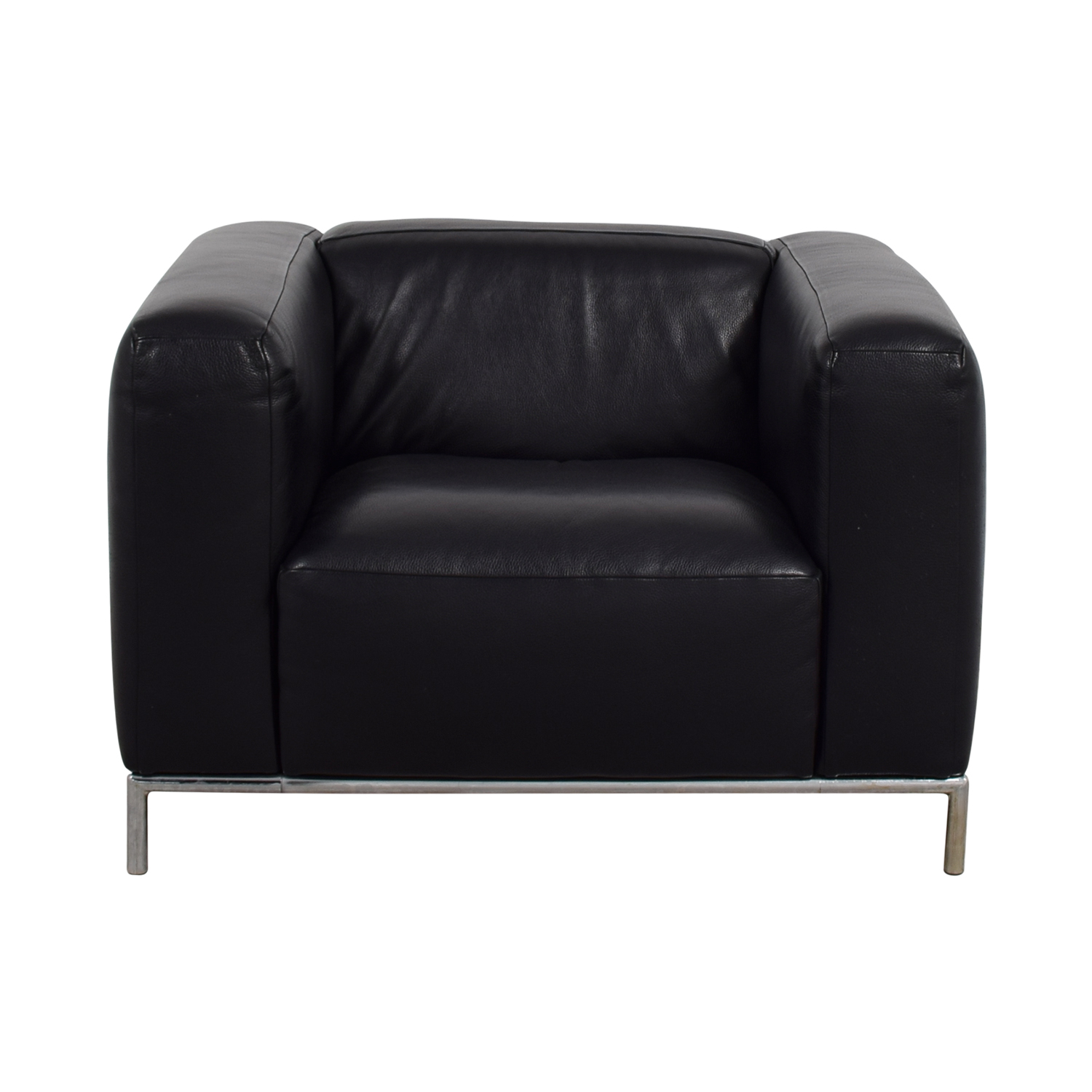 West Elm West Elm Black Leather Accent Chair nj