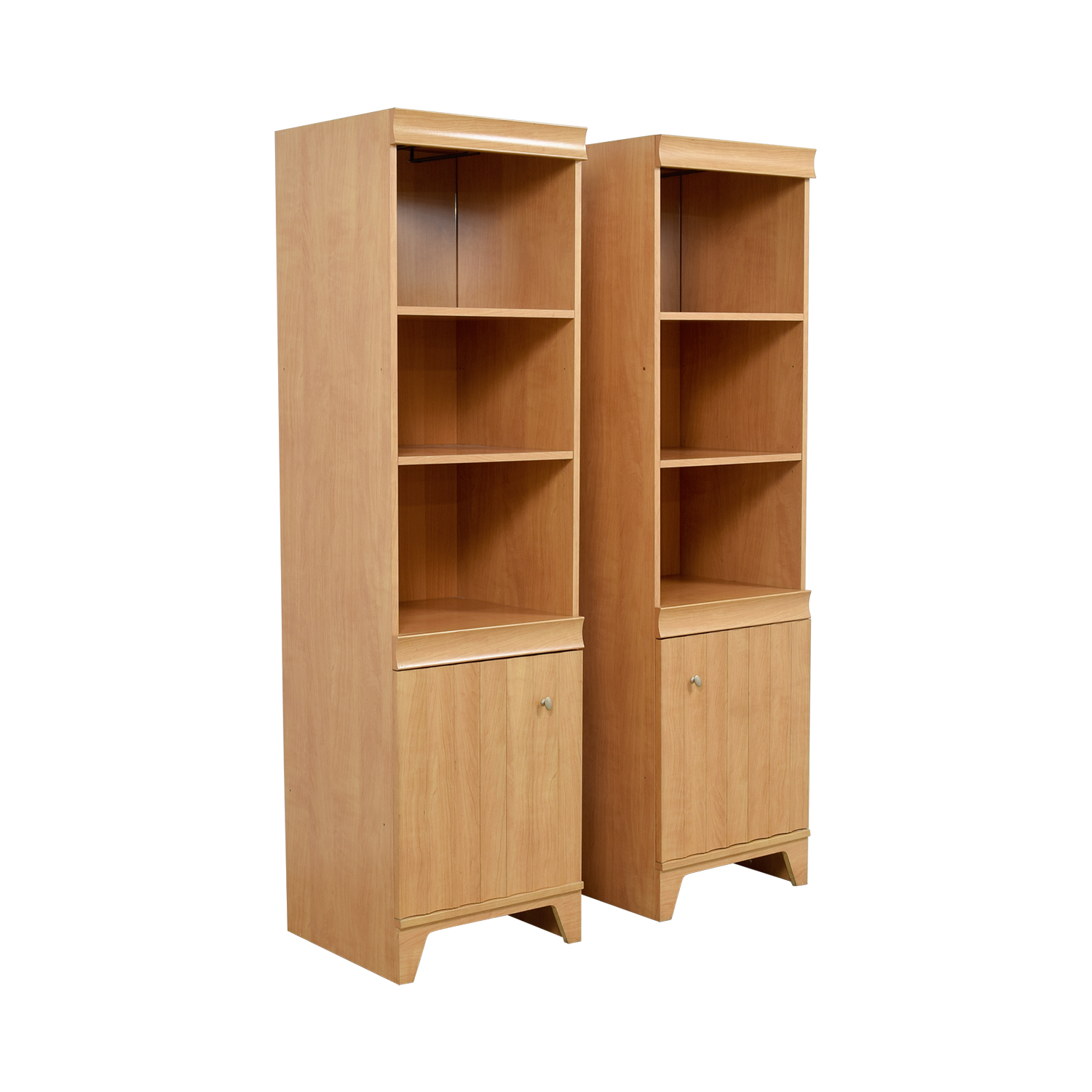 Bookshelves with Mirror on Top Shelf and Storage discount