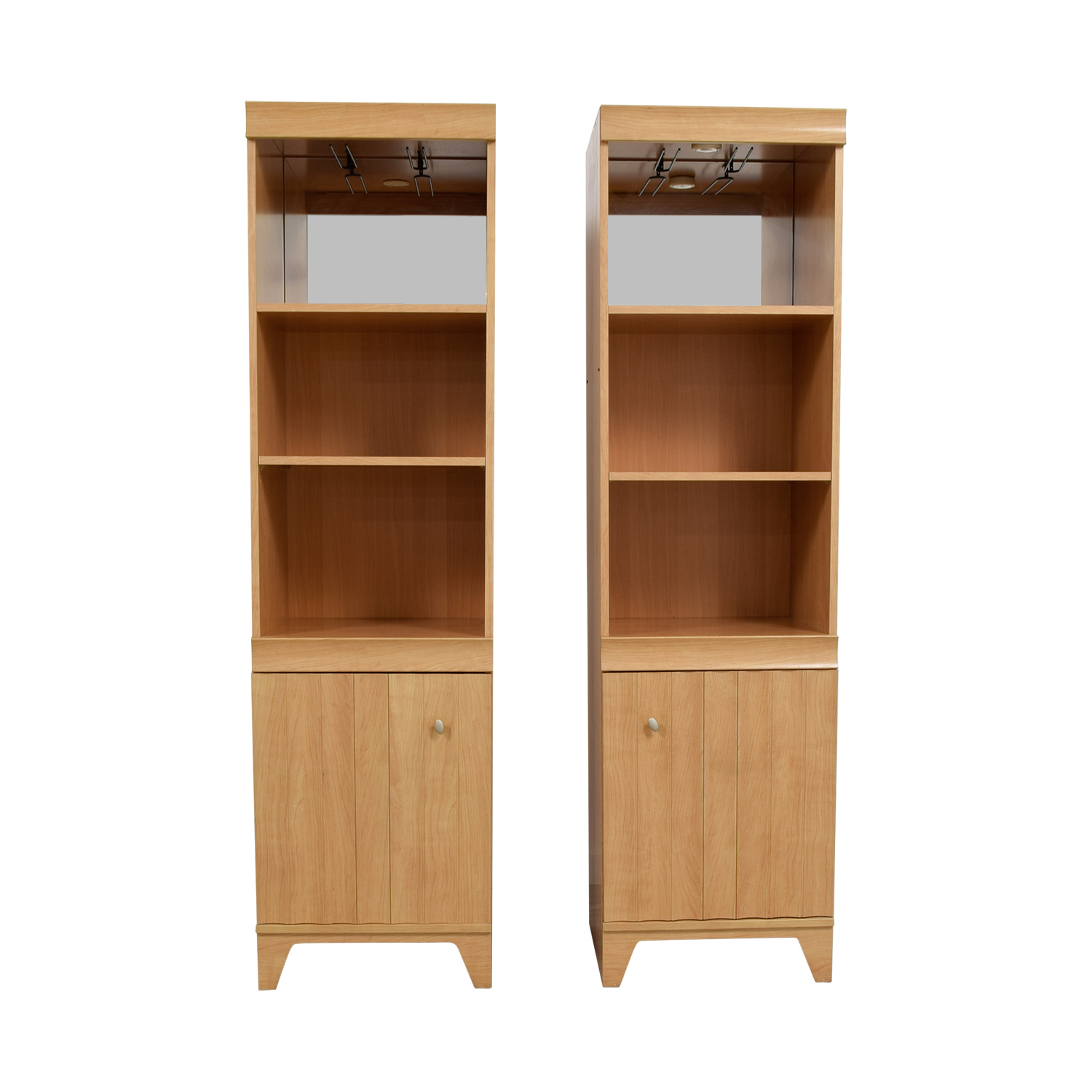 Bookshelves with Mirror on Top Shelf and Storage / Cabinets & Sideboards