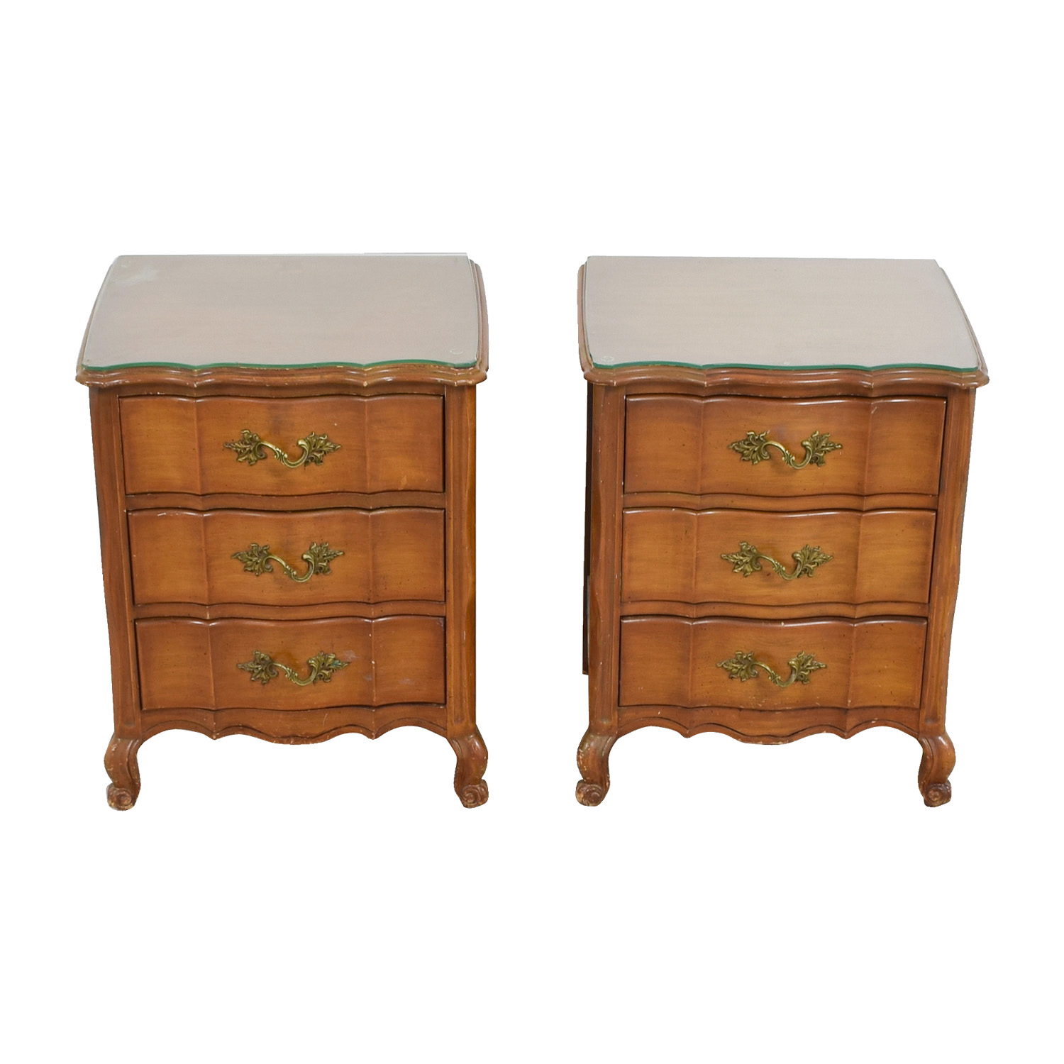 Three-Drawer Nightstands with Glass Top on sale