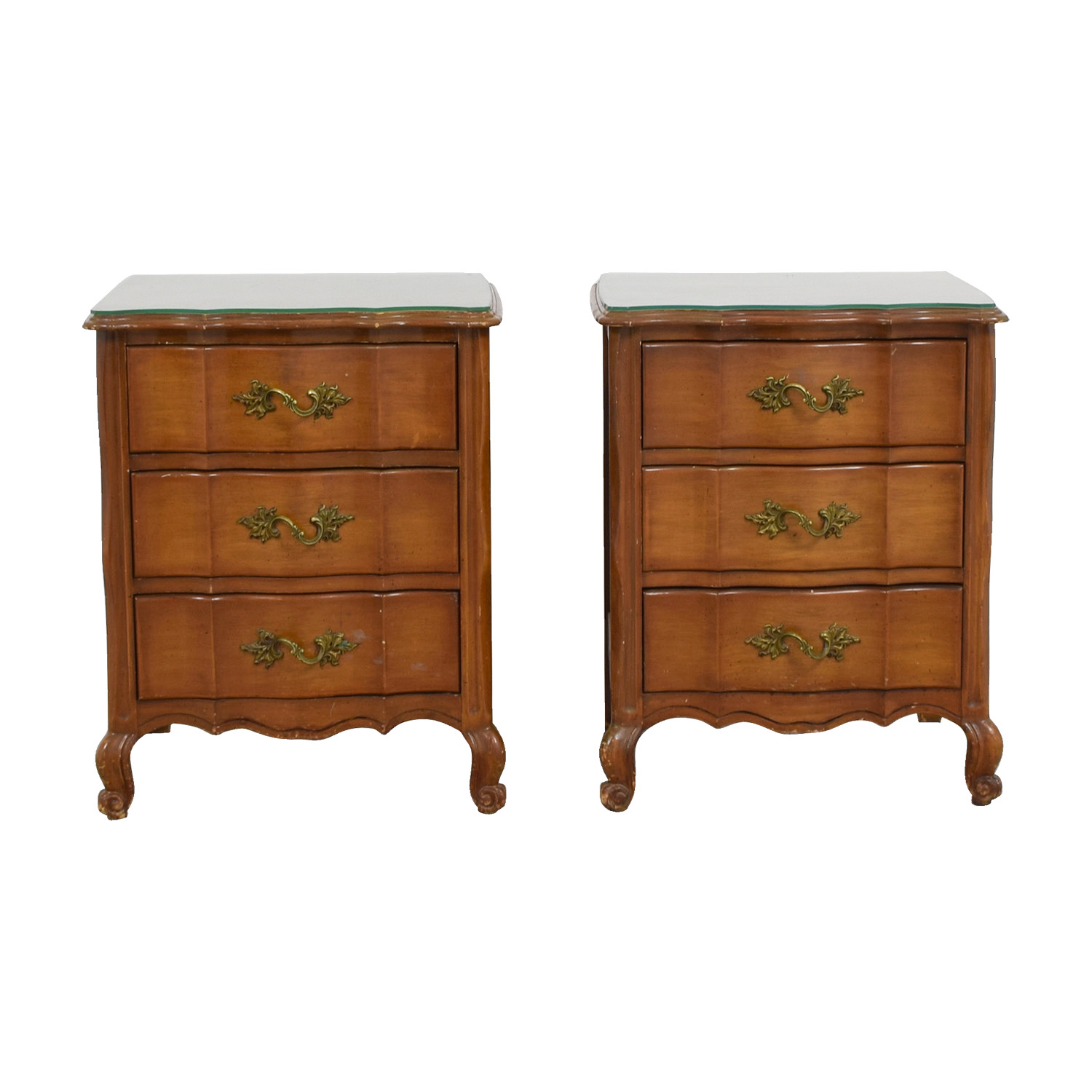 Three-Drawer Nightstands with Glass Top nyc