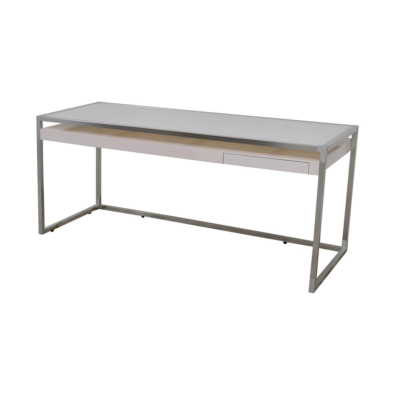 shop Ligne Roset Ligne Roset White and Grey Dining Table online
