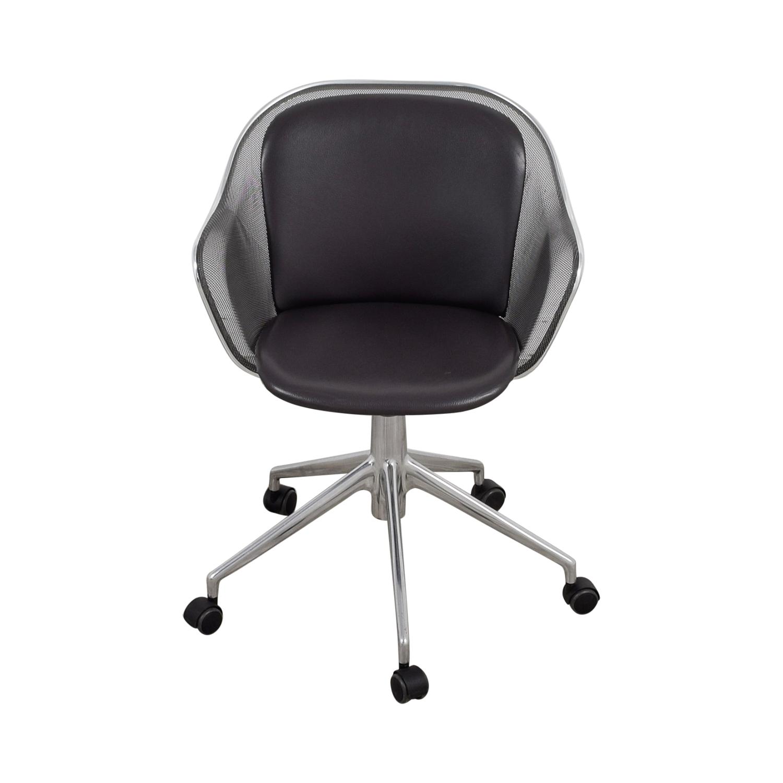 B & B Italia B & B Italia Grey Leather Desk Chair Home Office Chairs