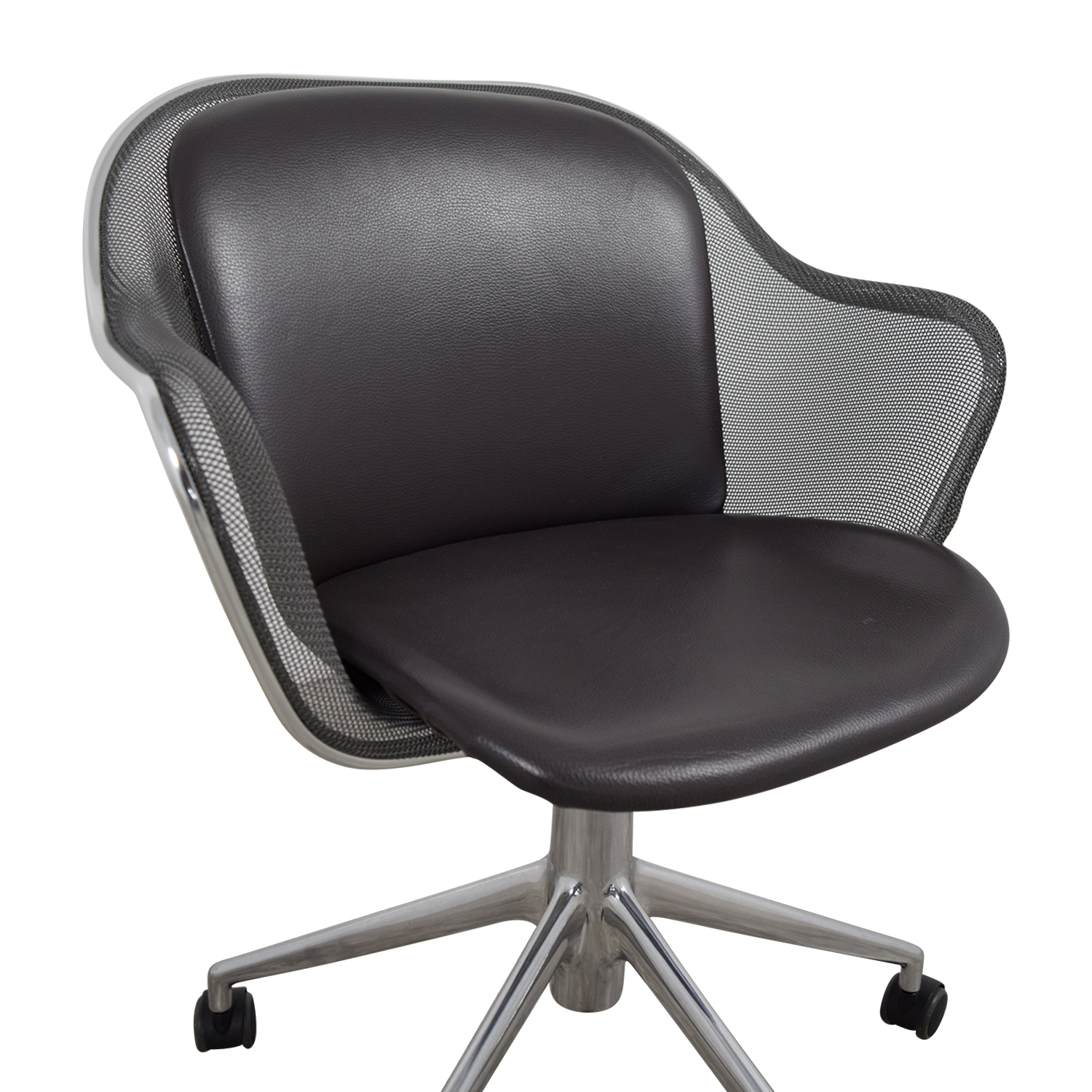 B & B Italia Grey Leather Desk Chair / Home Office Chairs