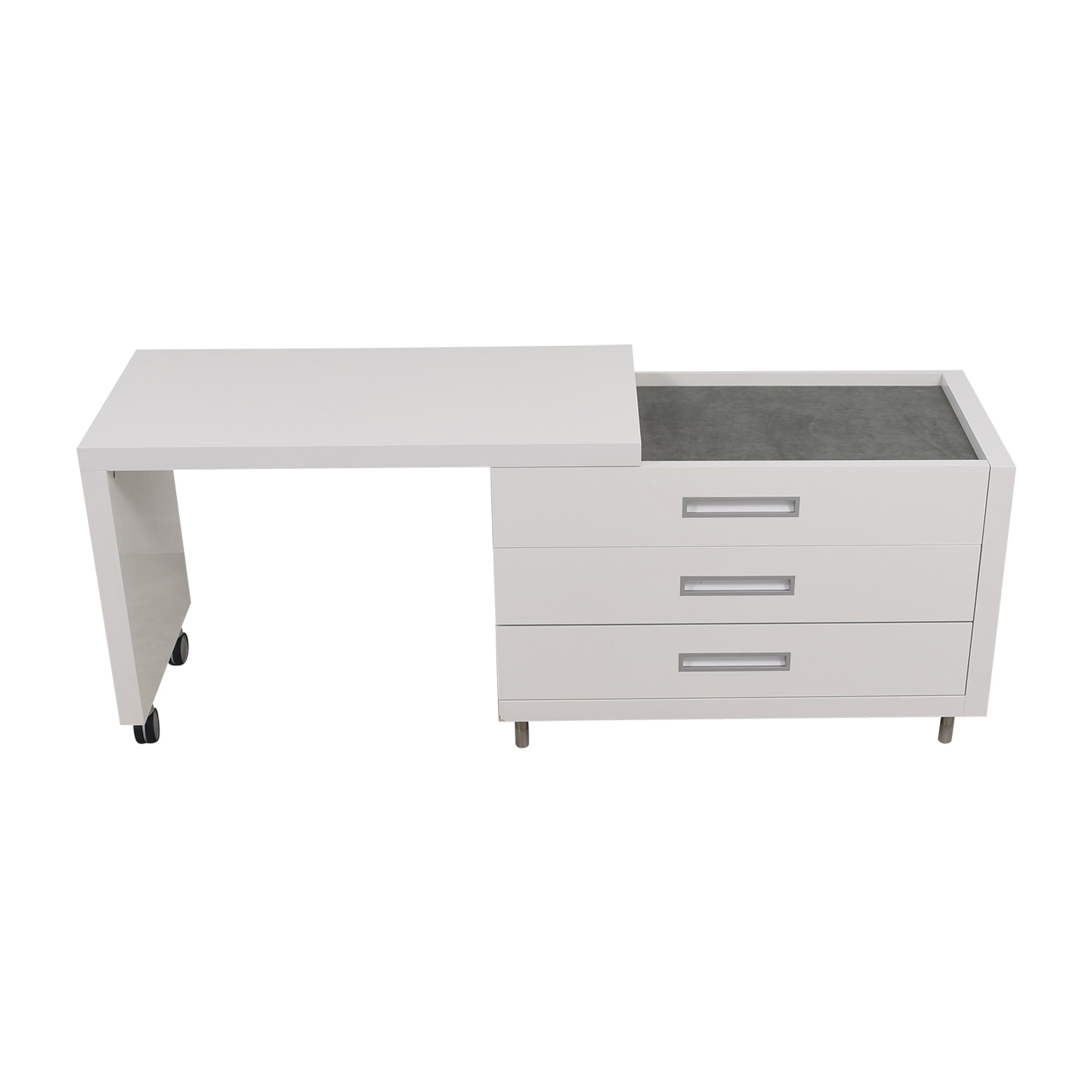 Ligne Roset White Dressing Table with Drawers / Tables
