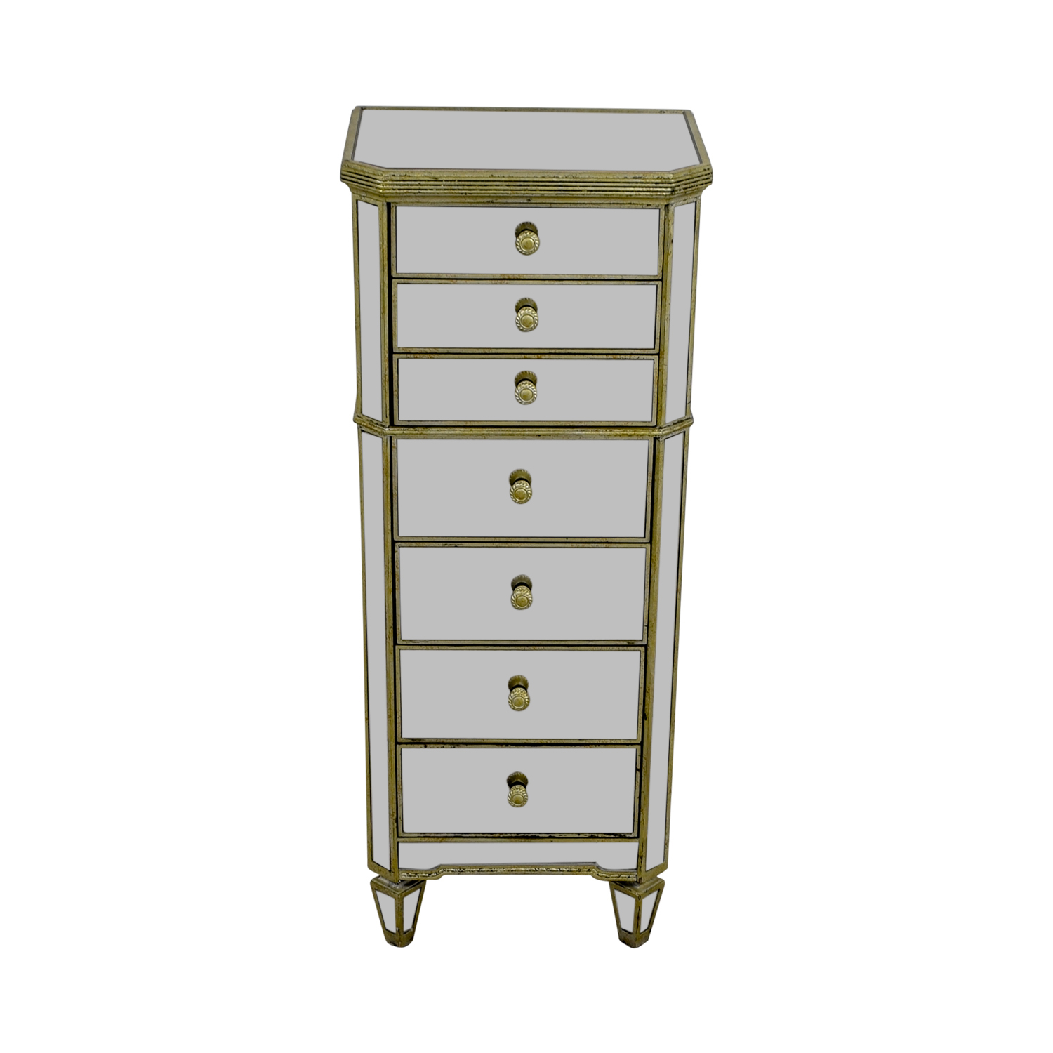 Horchow Horchow Mirrored Seven-Drawer Tall Chest Dresser second hand