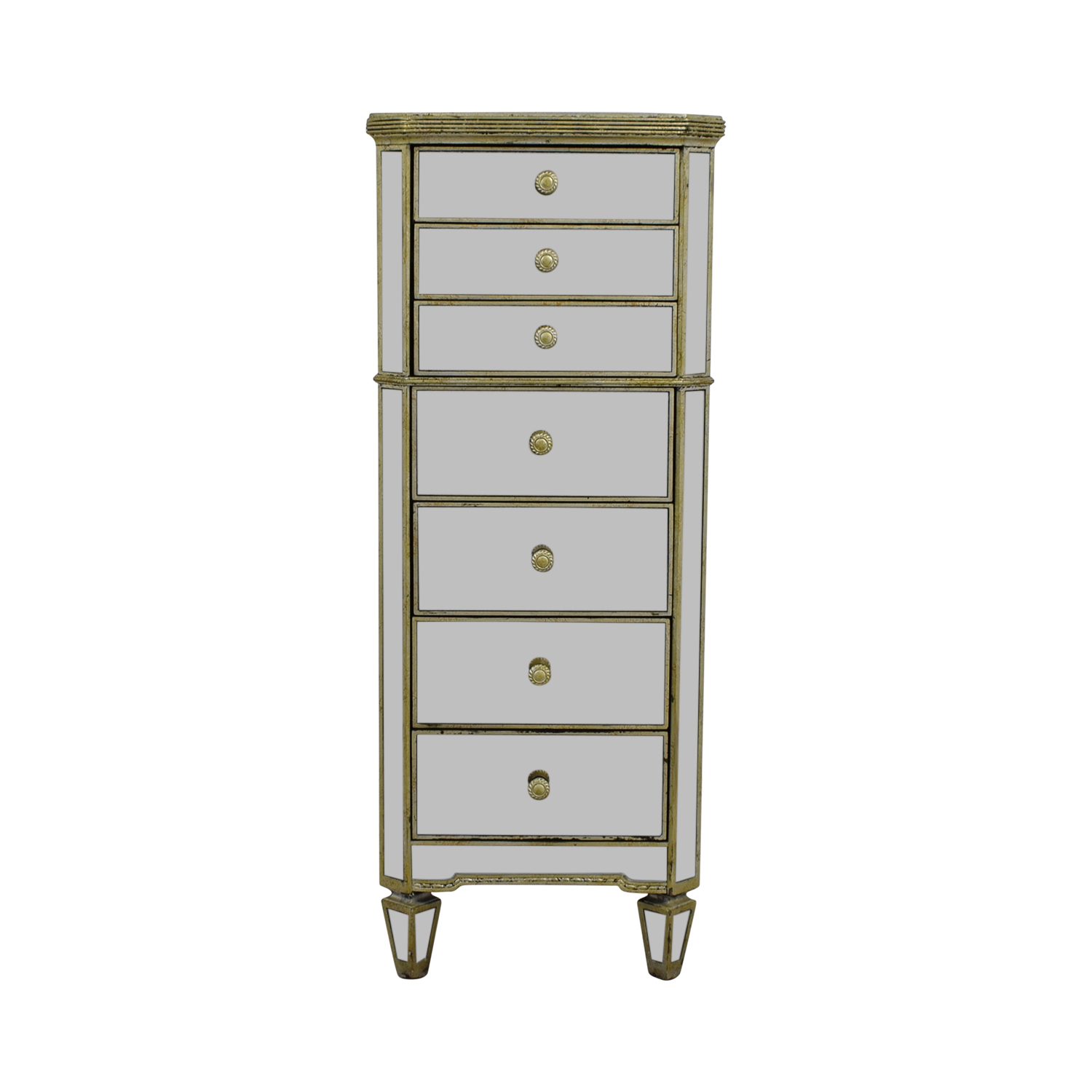 Horchow Horchow Mirrored Seven-Drawer Tall Chest Dresser dimensions
