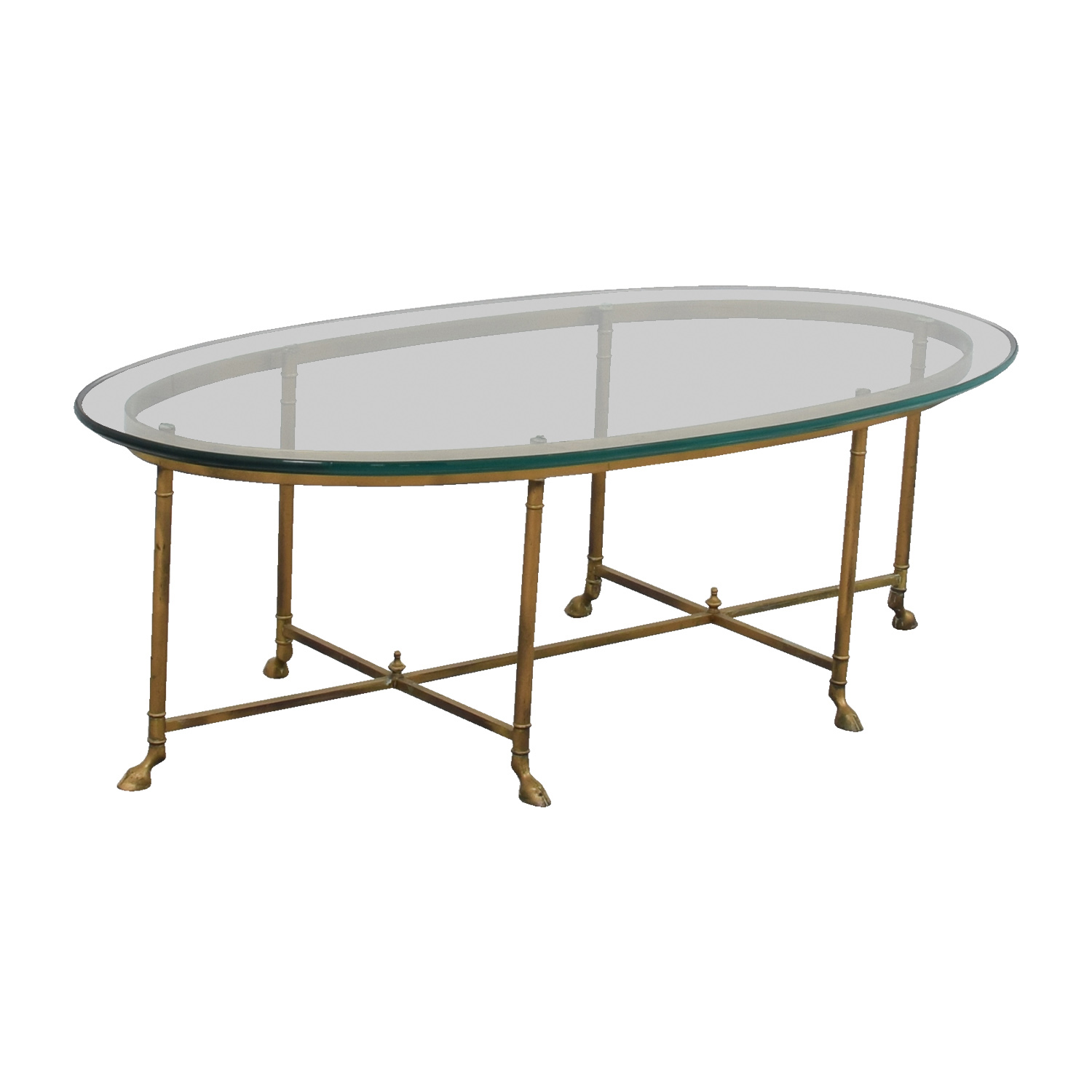 Small Brass And Glass Coffee Tables: Oval Glass & Brass Coffee Table / Tables