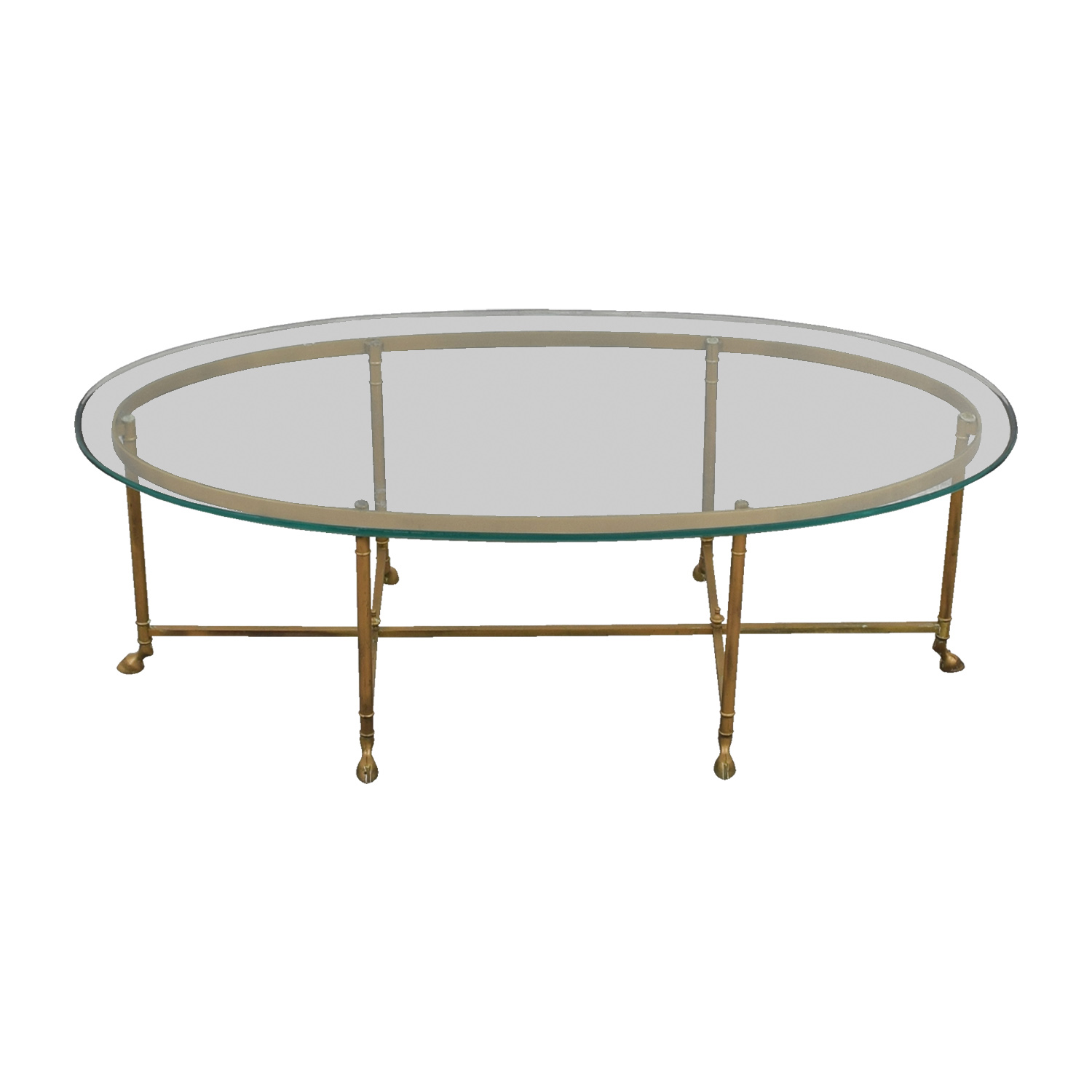 Oval Glass & Brass Coffee Table second hand