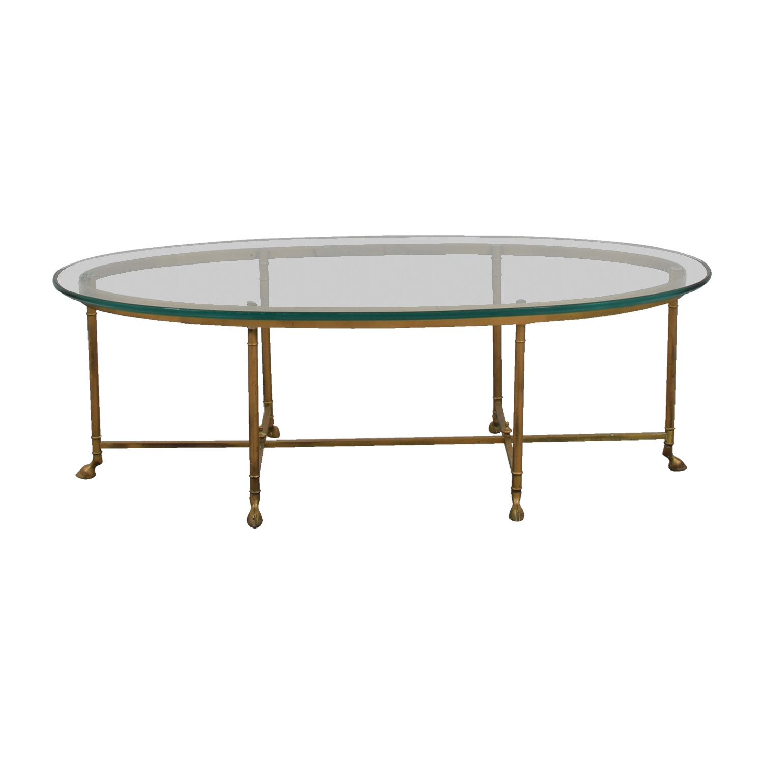 Oval Glass & Brass Coffee Table for sale
