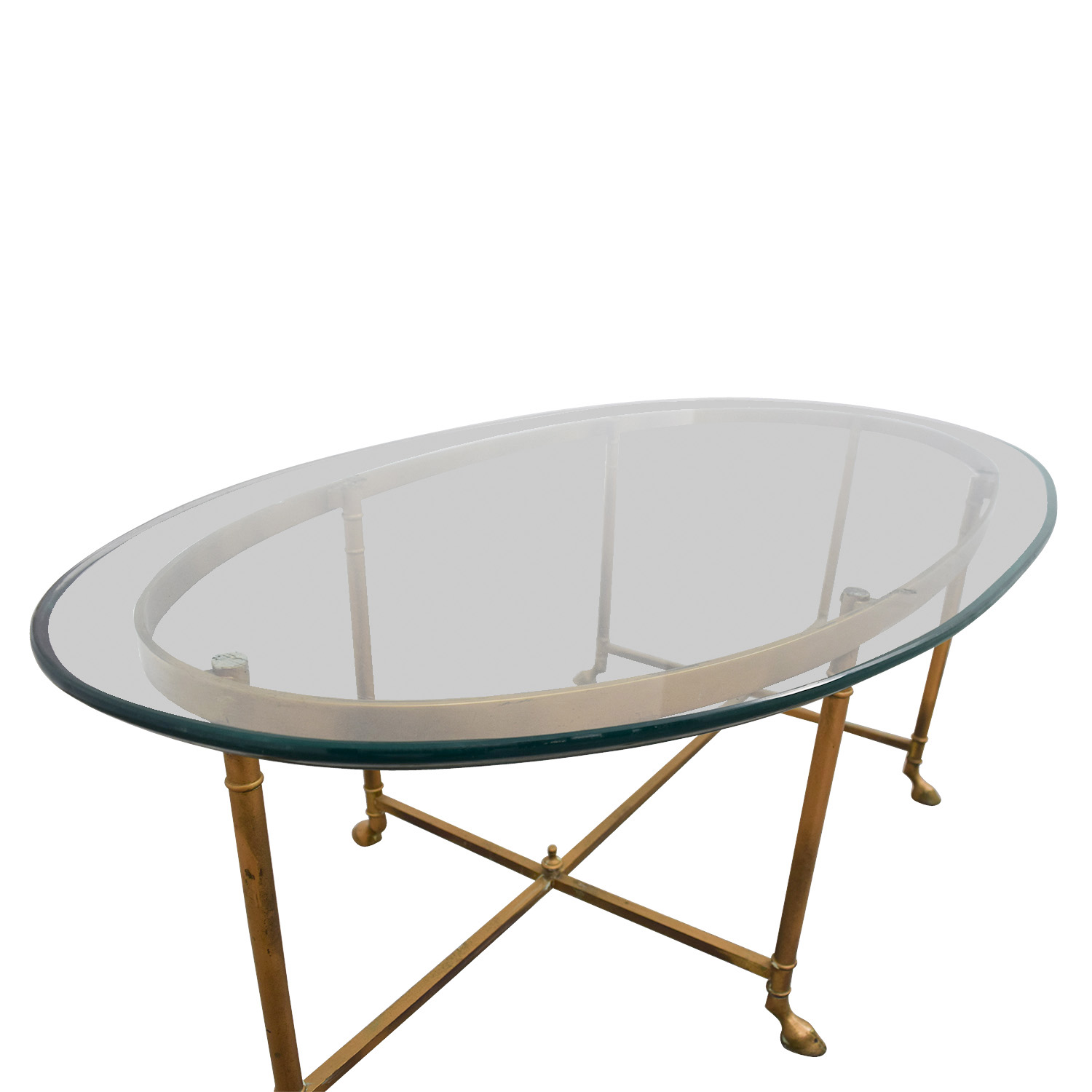 OFF Oval Glass & Brass Coffee Table Tables