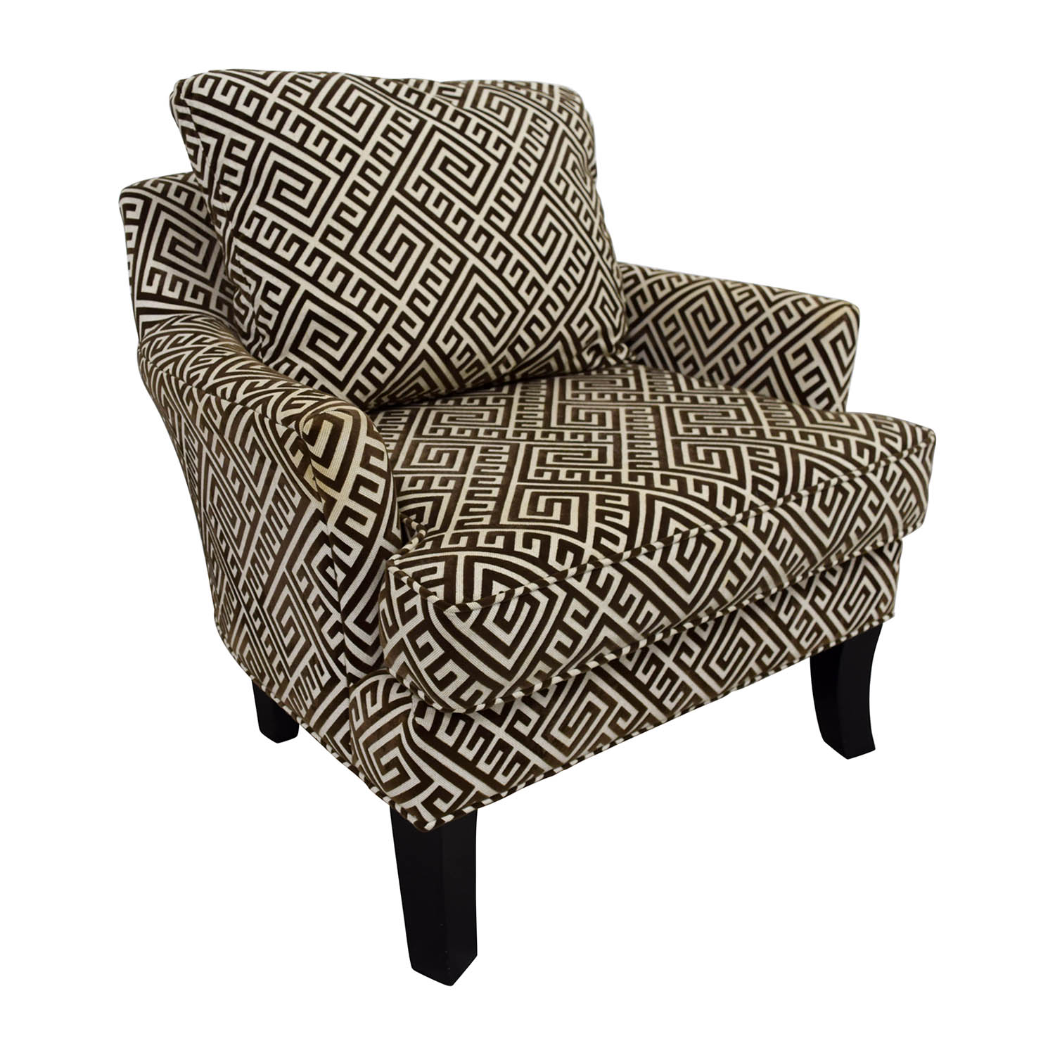 90% OFF   Raymour U0026 Flanigan Raymour U0026 Flanigan Brown And White Accent Arm  Chair / Chairs