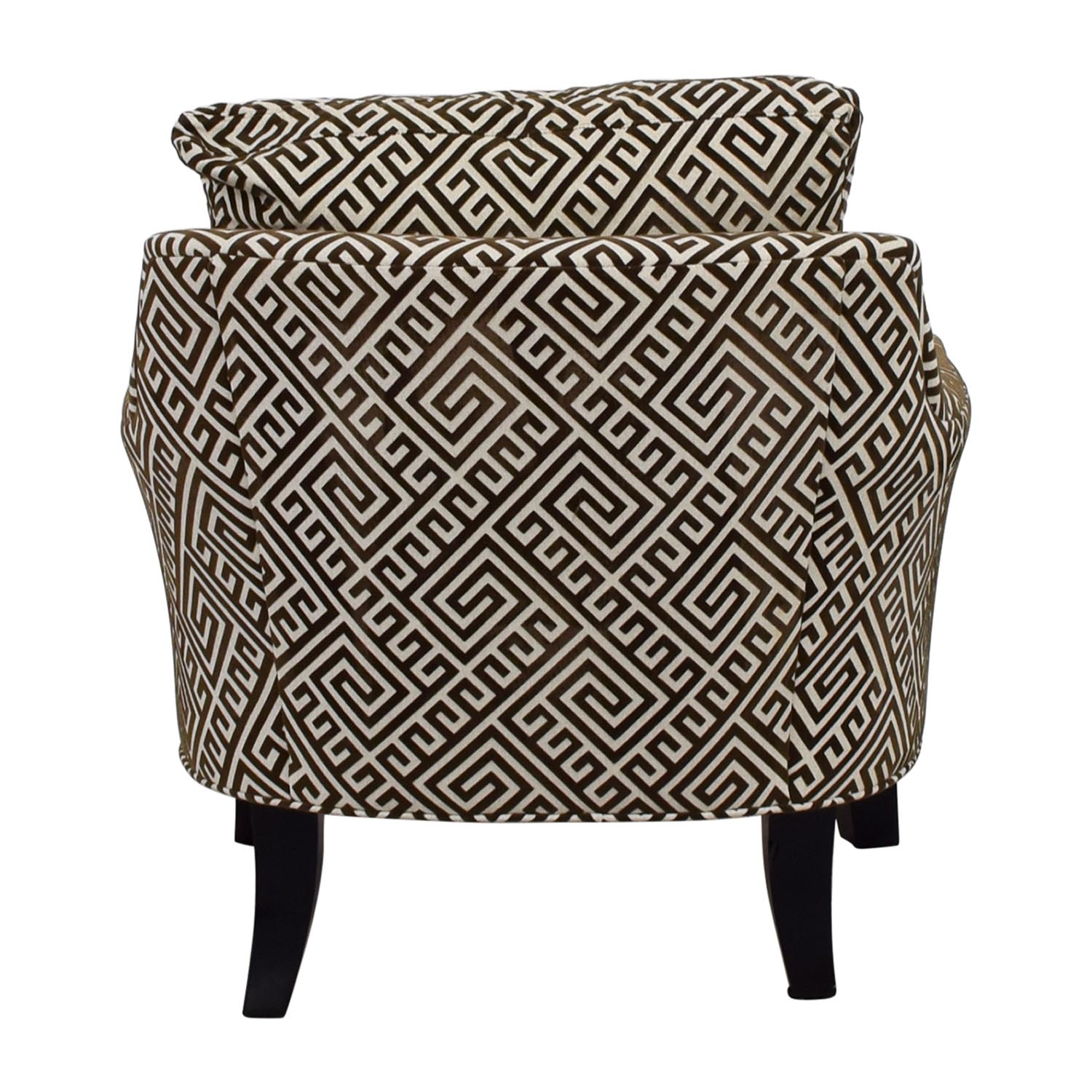 shop Raymour & Flanigan Raymour & Flanigan Brown and White Accent Arm Chair online