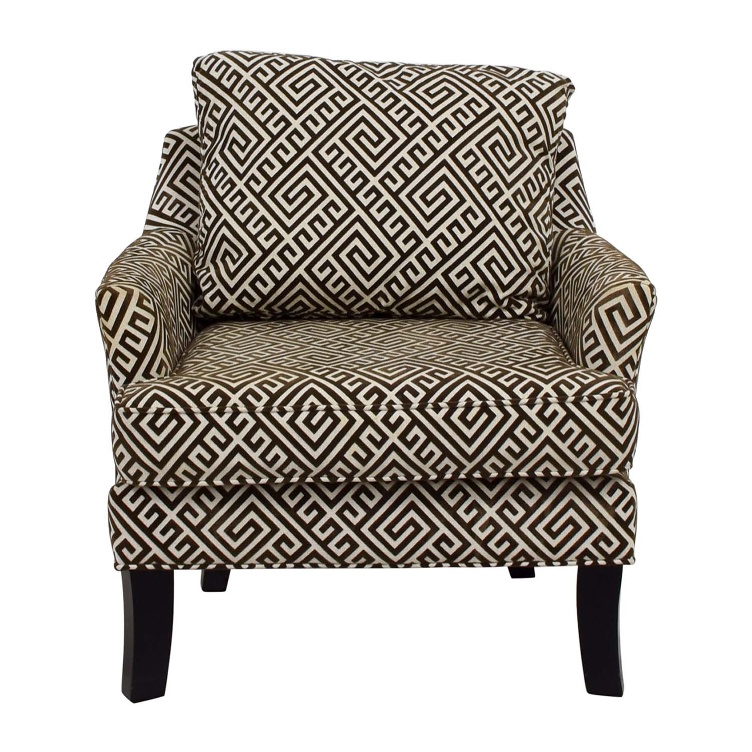 Raymour & Flanigan Raymour & Flanigan Brown and White Accent Arm Chair coupon
