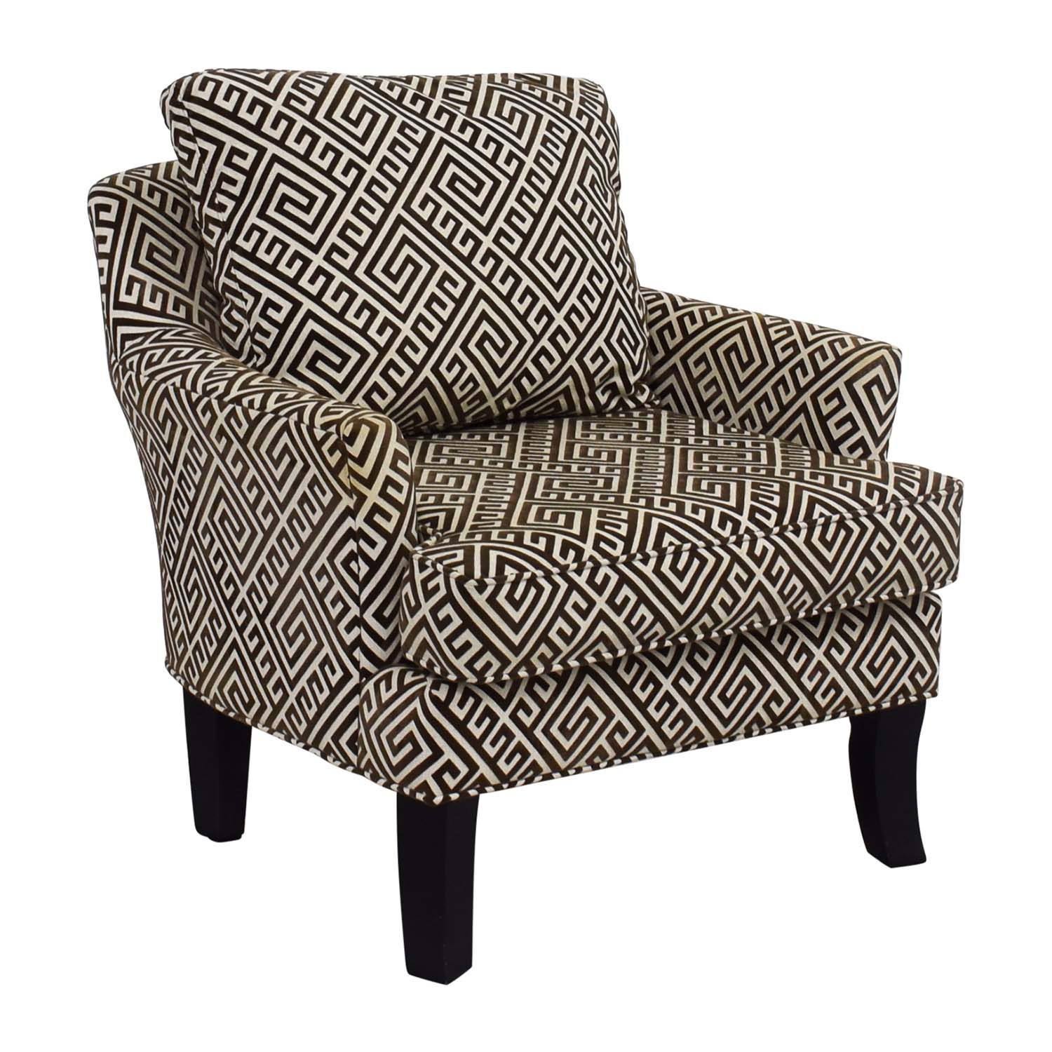... Raymour U0026 Flanigan Brown And White Accent Arm Chair ...