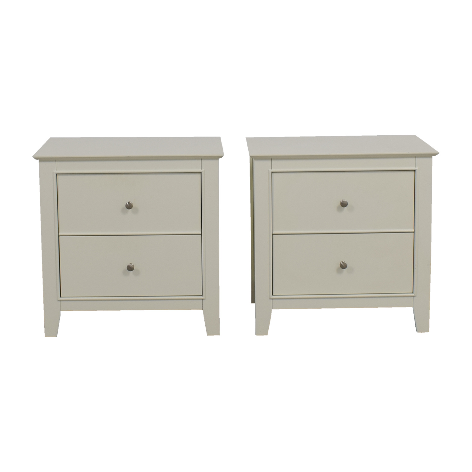 White Two-Drawer End Tables dimensions