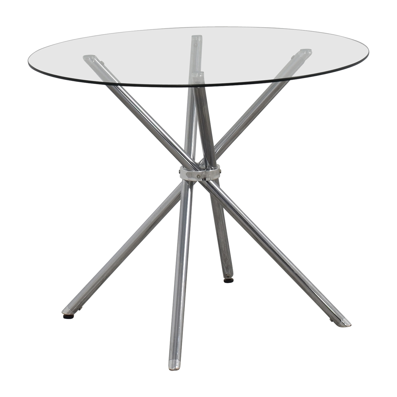 90 off round glass and chrome dining table tables. Black Bedroom Furniture Sets. Home Design Ideas