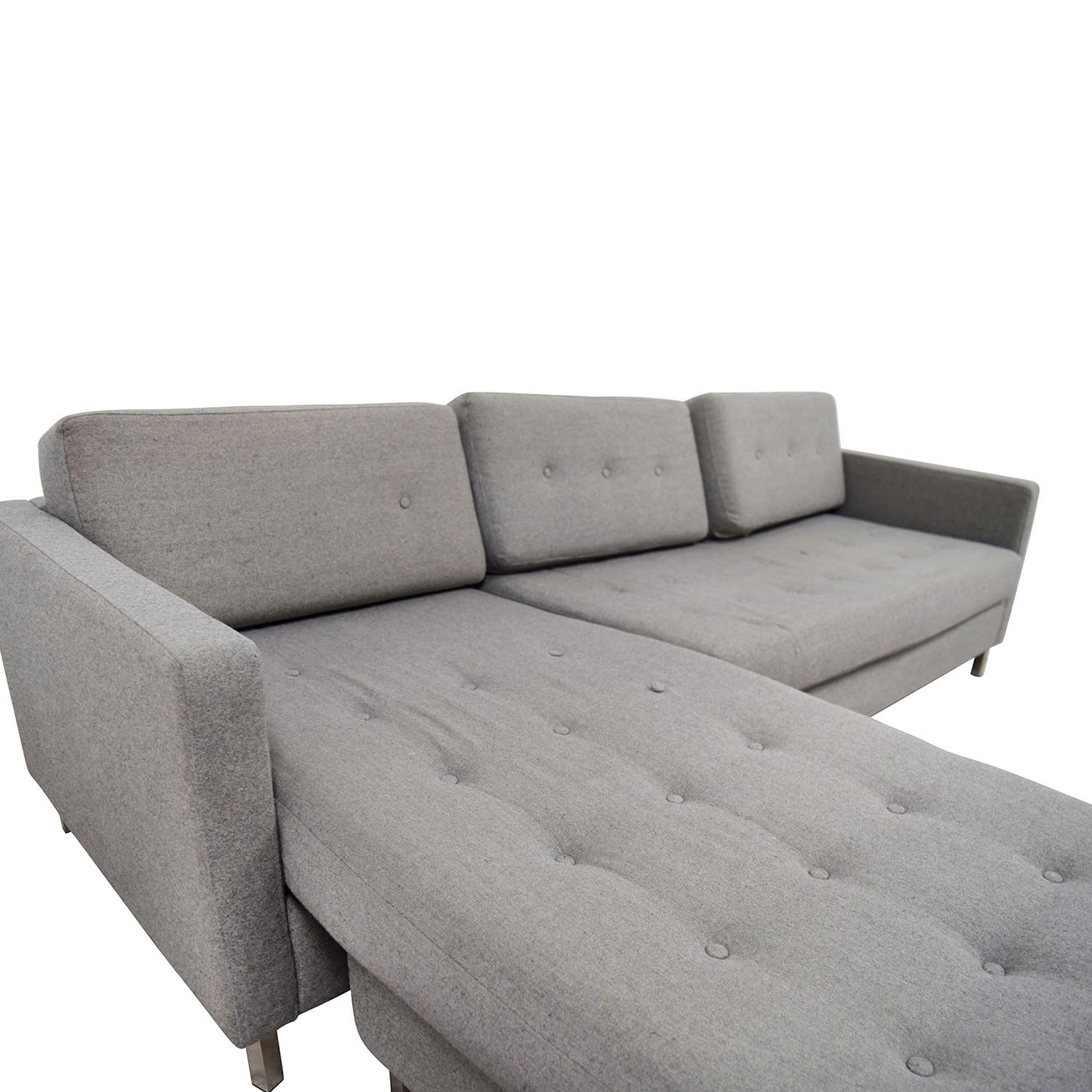 84 off cb2 cb2 grey tufted chaise sectional sofas. Black Bedroom Furniture Sets. Home Design Ideas