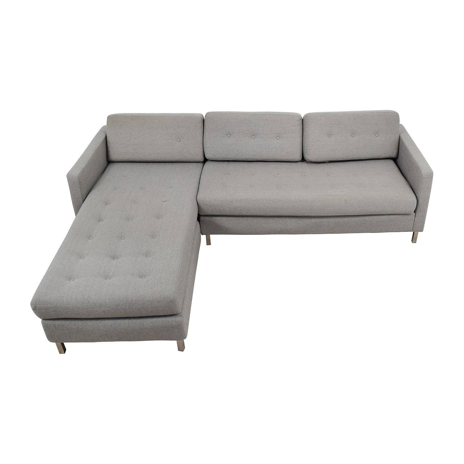 CB2 CB2 Grey Tufted Chaise Sectional coupon