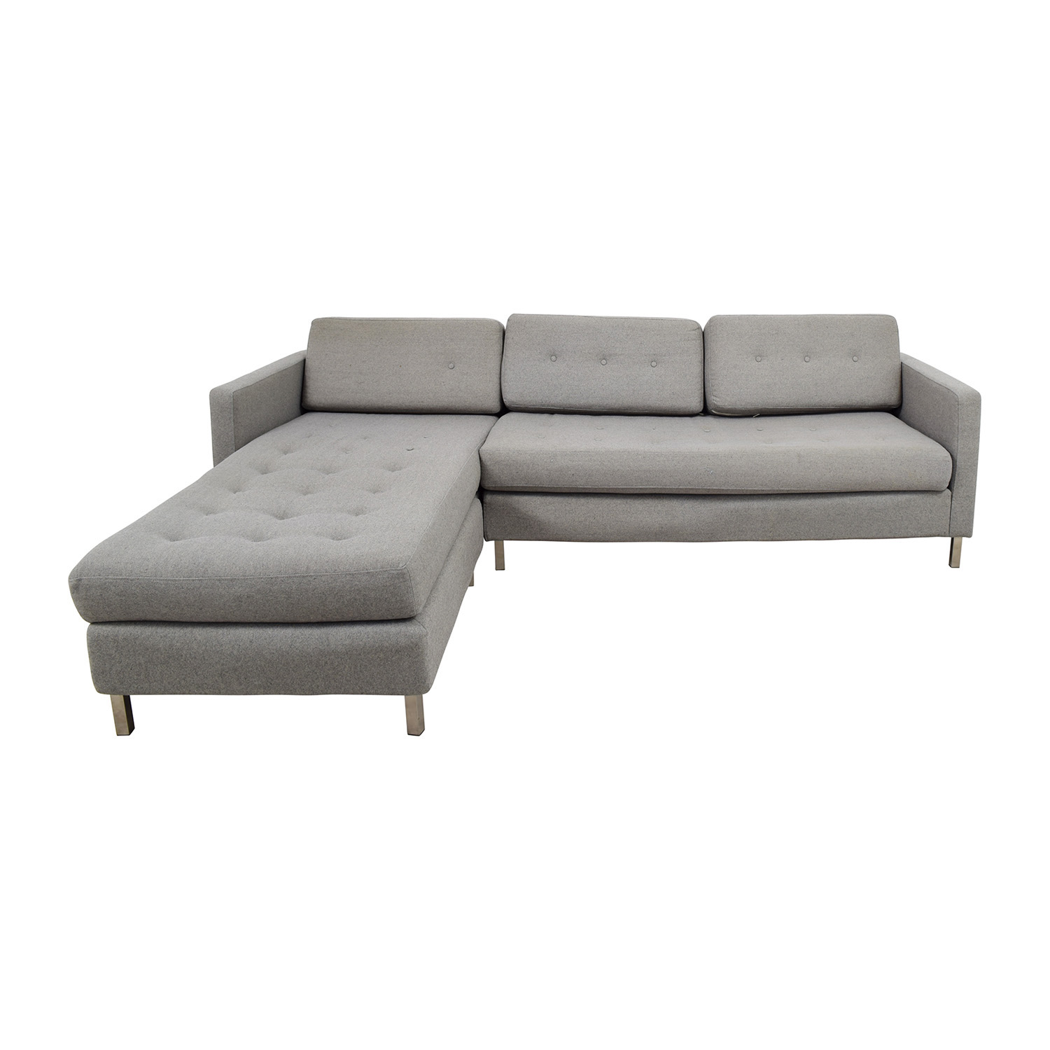 CB2 CB2 Grey Tufted Chaise Sectional nyc