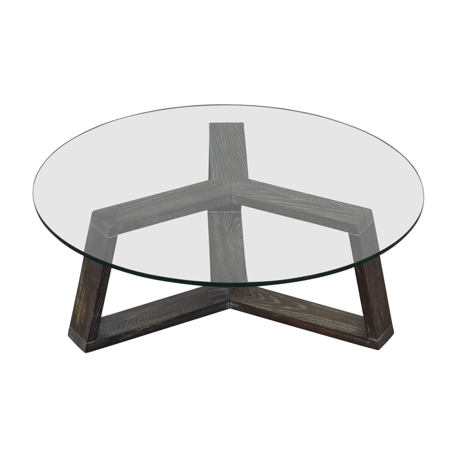 CB2 CB2 Round Glass And Wood Coffee Table nyc