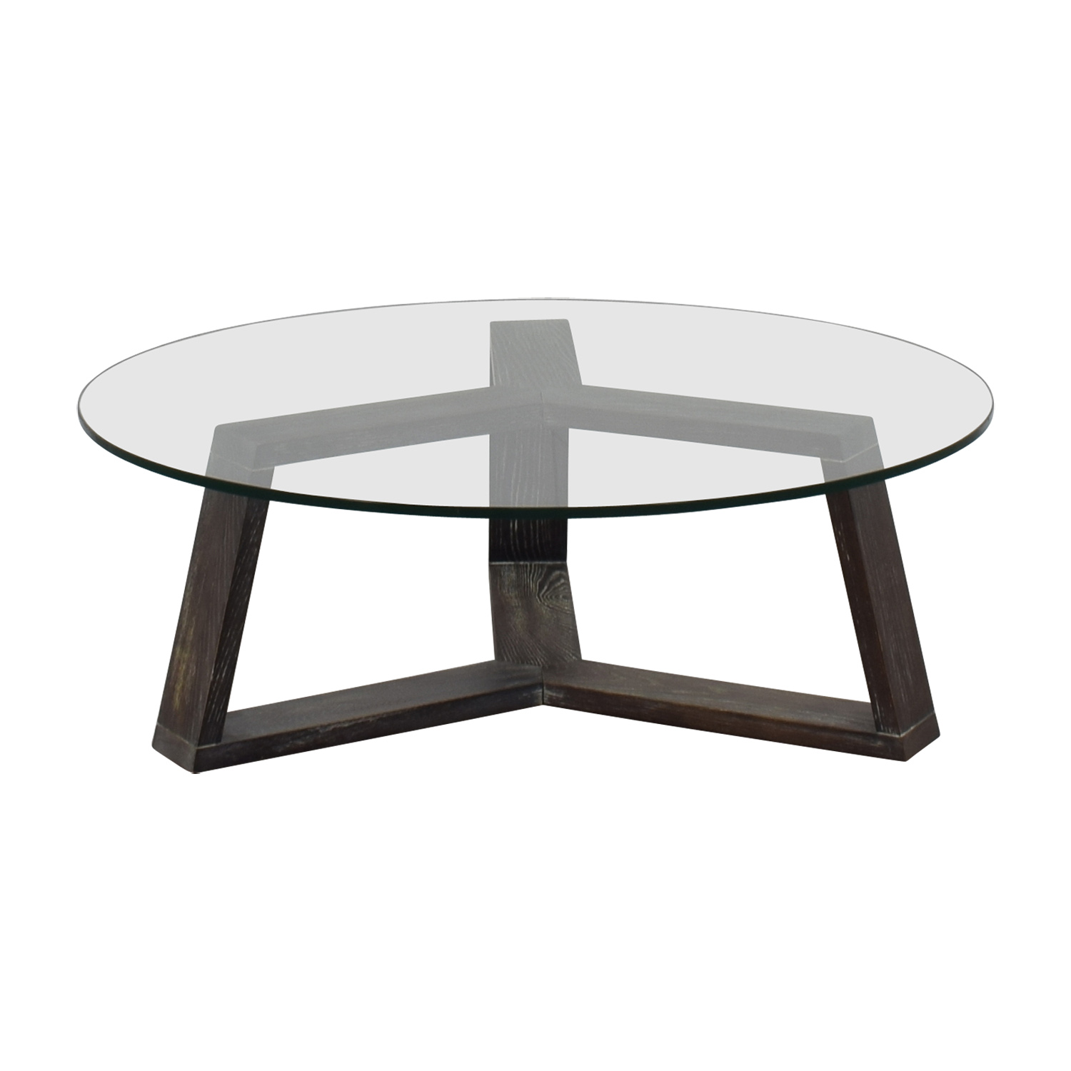buy CB2 Round Glass And Wood Coffee Table CB2 Coffee Tables