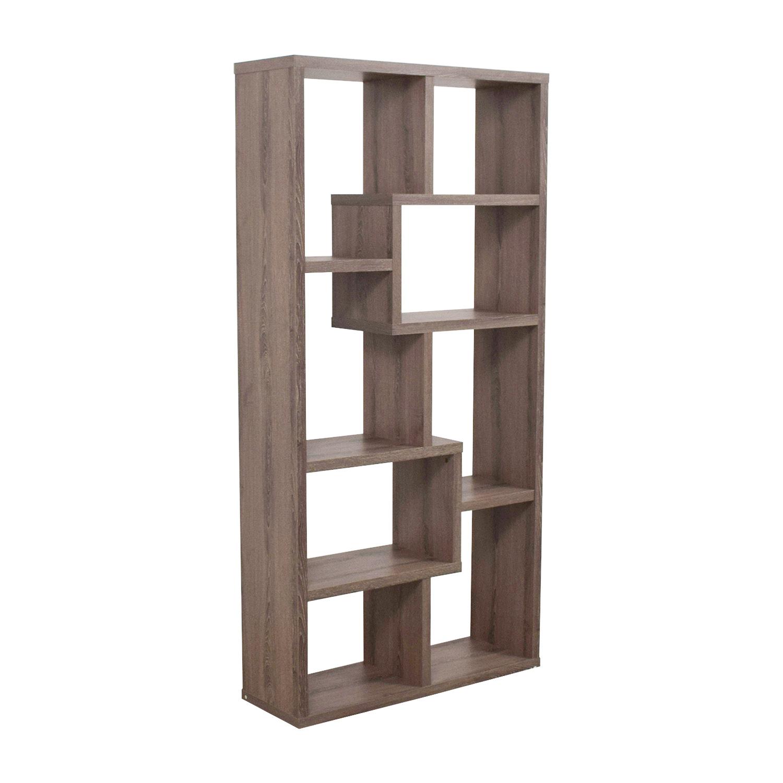 59 Off Multi Shape Grey Wood Bookcase Storage