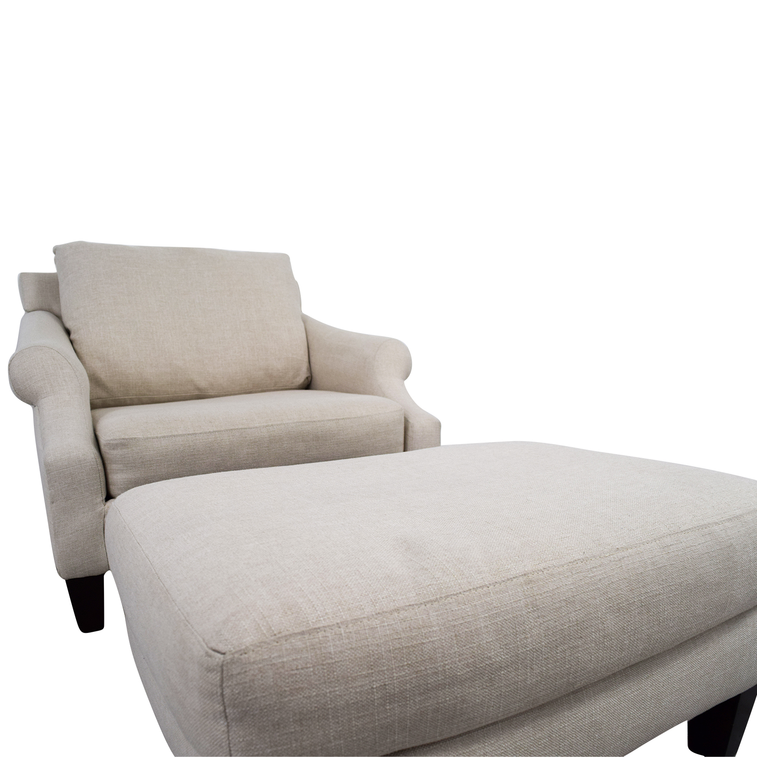 Raymour & Flanigan Raymour & Flanigan Beige Love Chair and Ottoman Chairs