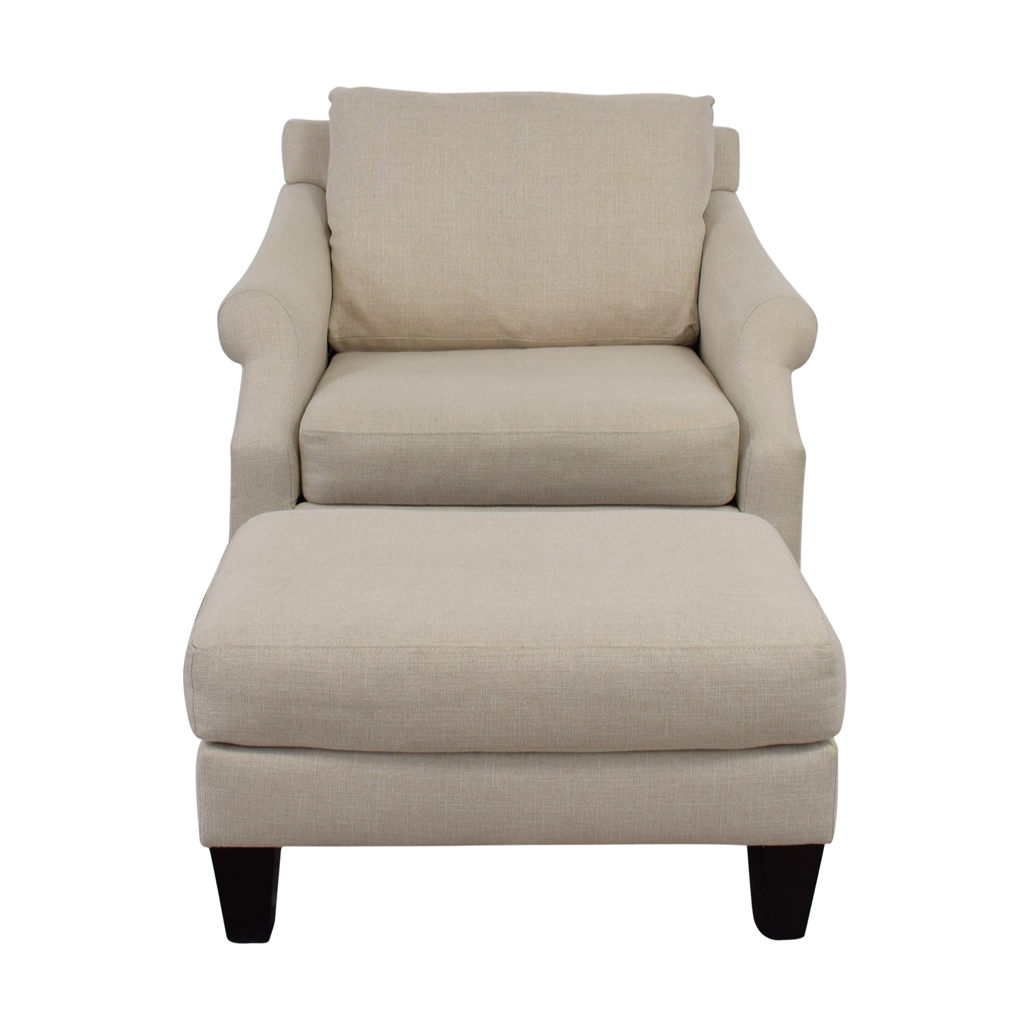 Raymour & Flanigan Raymour & Flanigan Beige Love Chair and Ottoman nj