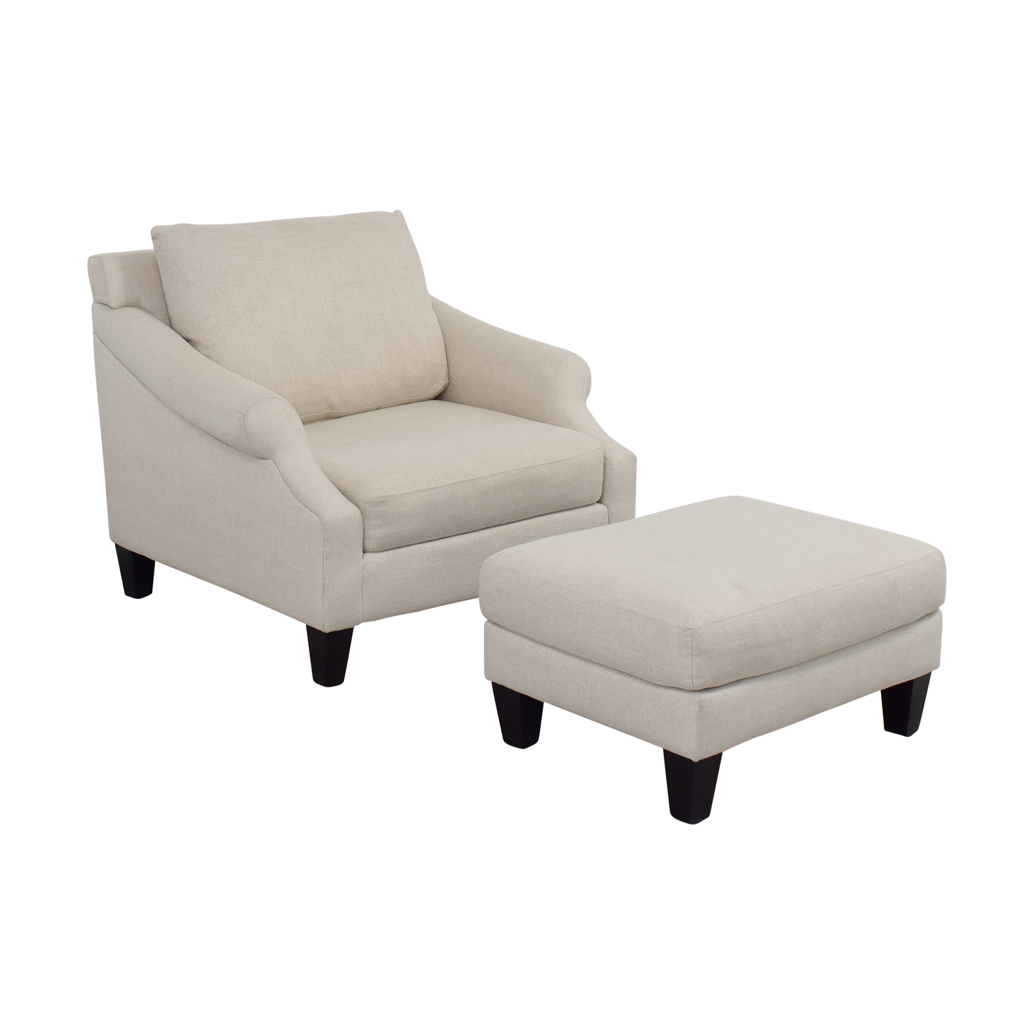 Raymour & Flanigan Beige Love Chair and Ottoman Raymour & Flanigan