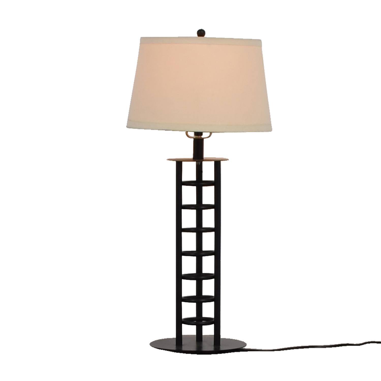 Black Metal Table Lamp Tan/Black