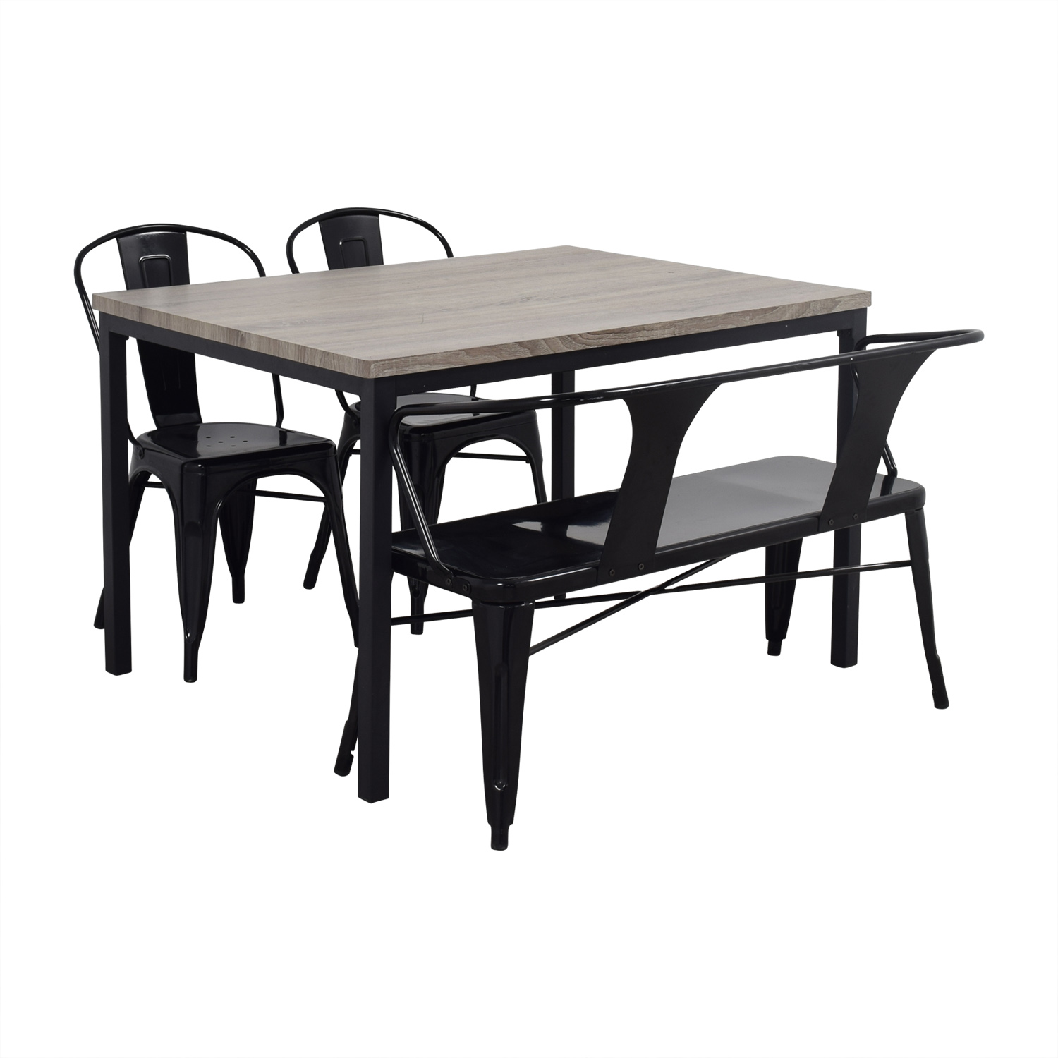 Gray Dining Table Sets ~ Off grey dining table set with chairs and bench tables