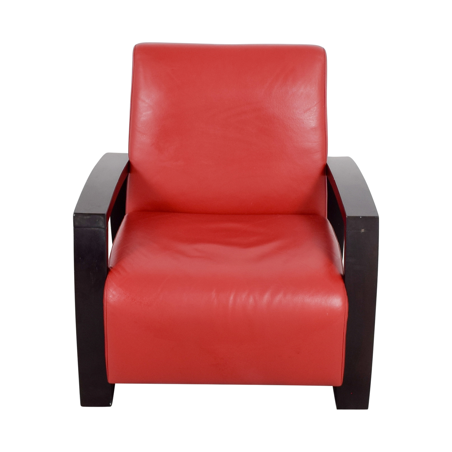 Small Red Leather Accent Chair