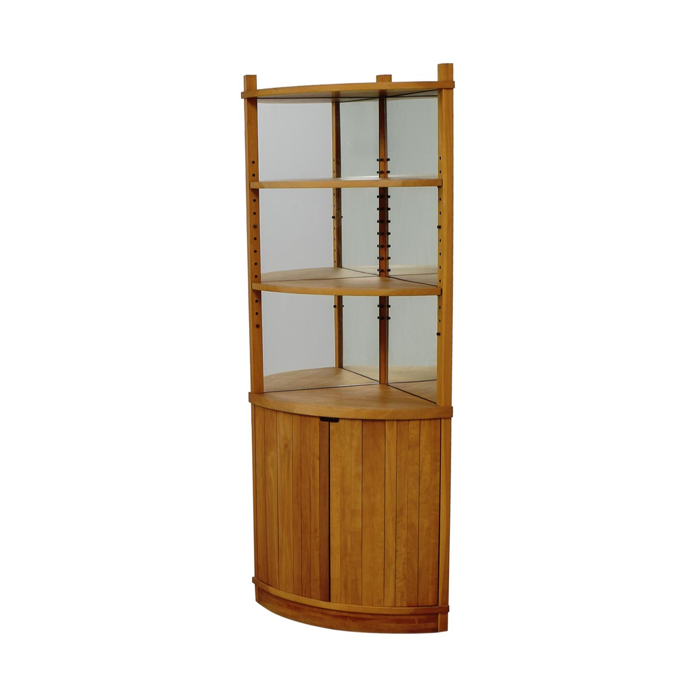 Off cherry wood mirrored corner cabinet storage