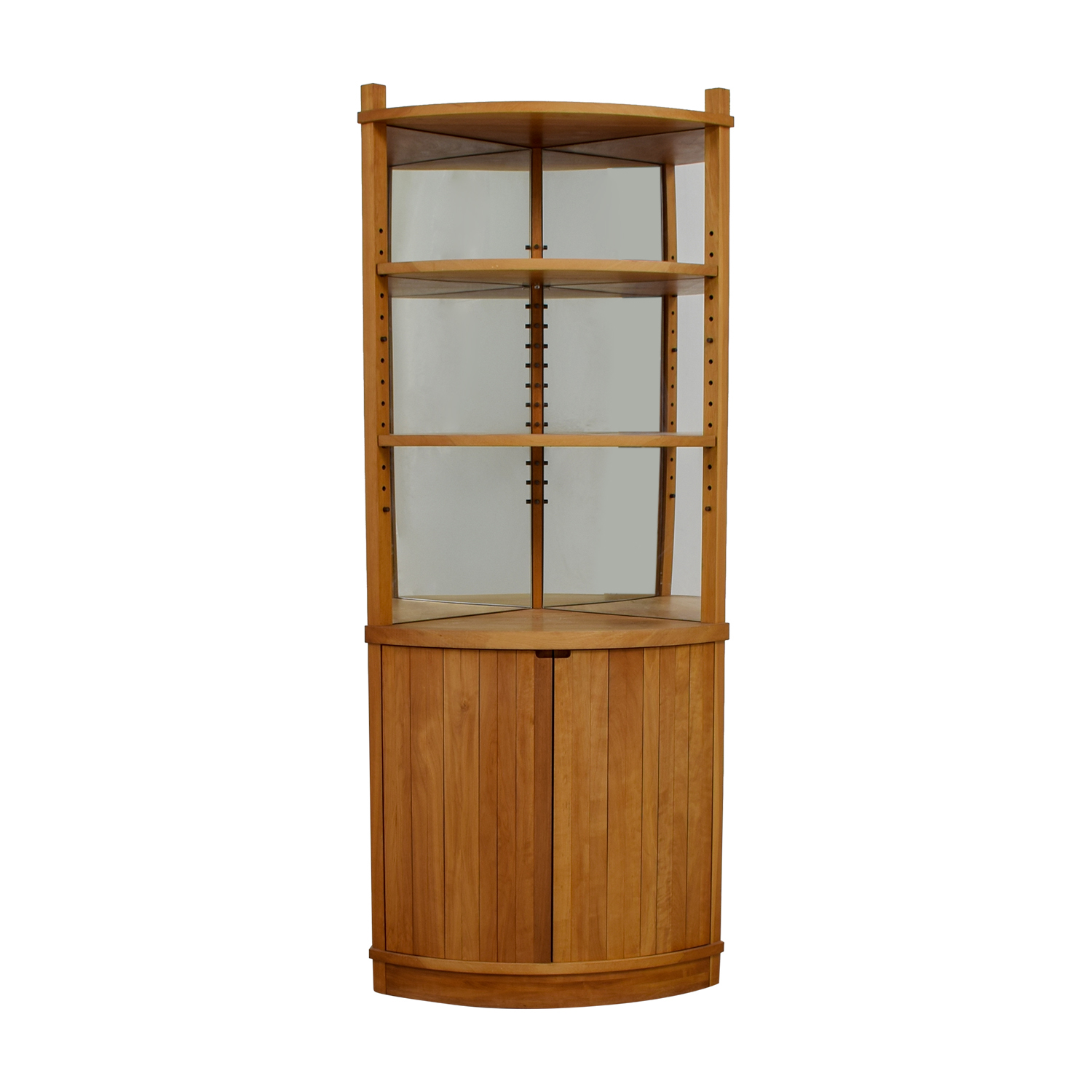 Cherry Wood Mirrored Corner Cabinet on sale