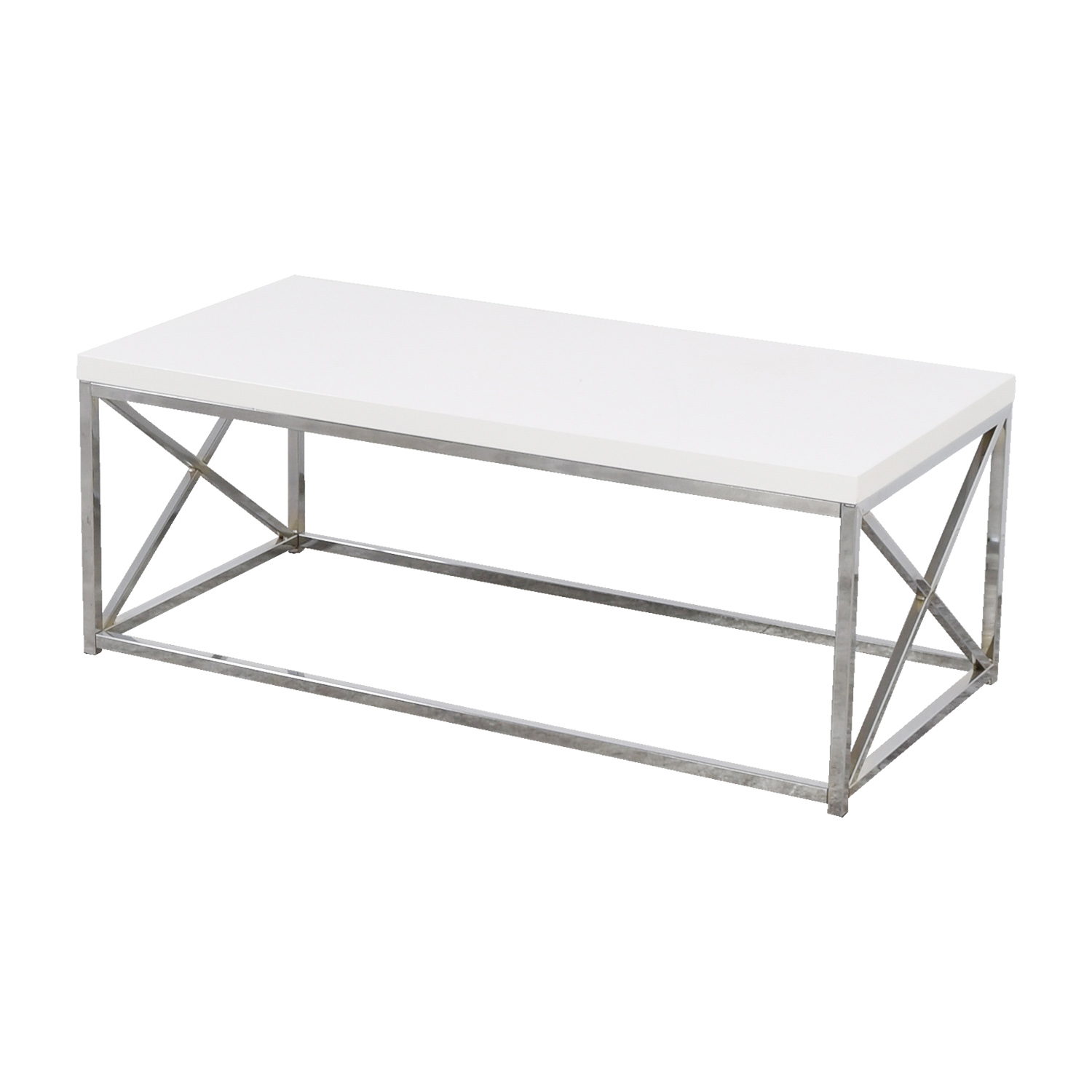 51 off white top with chrome base coffee table tables. Black Bedroom Furniture Sets. Home Design Ideas