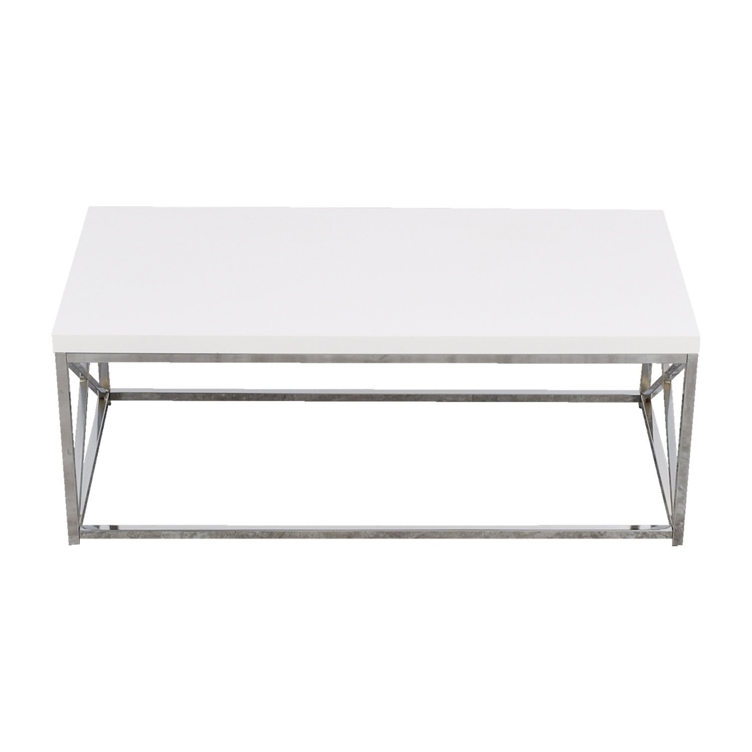 51 Off White Top With Chrome Base Coffee Table Tables