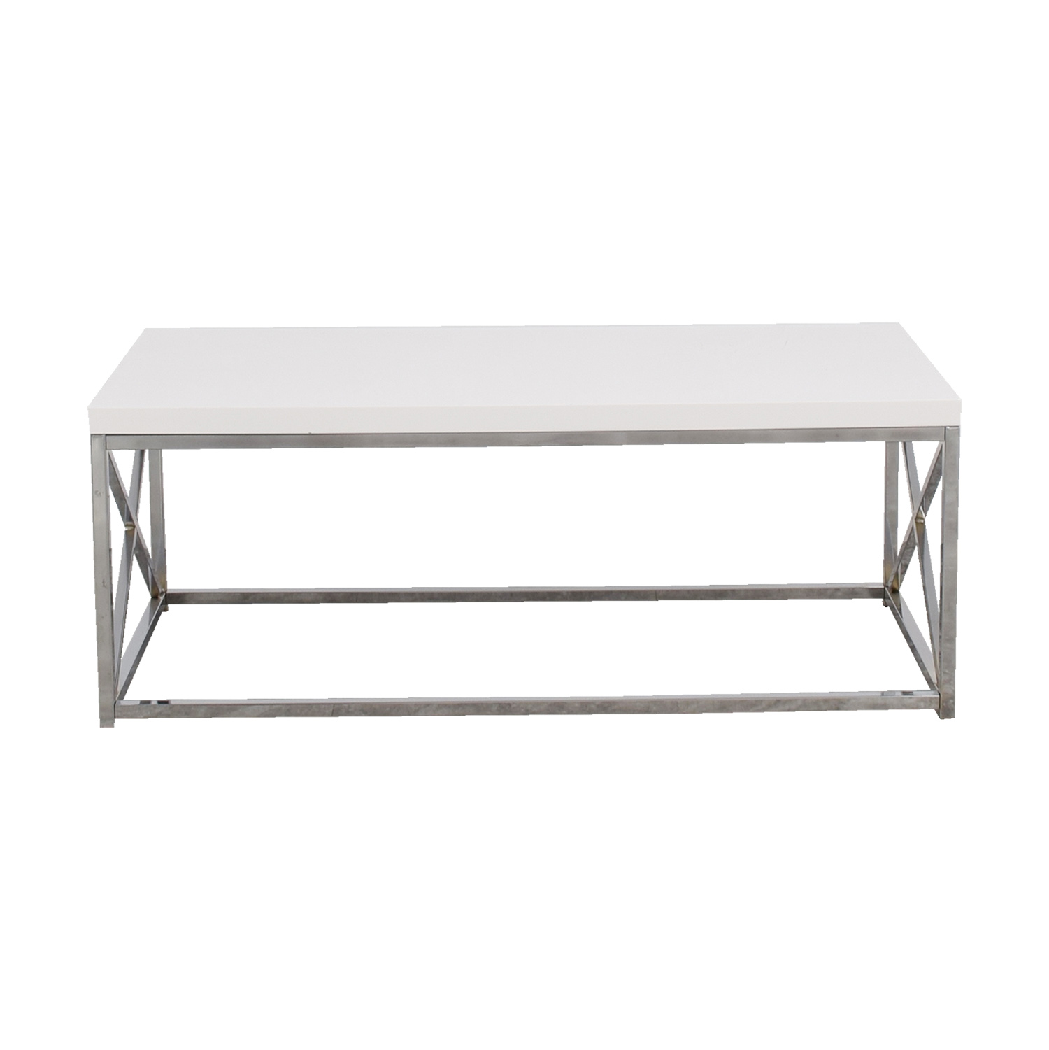 White Top with Chrome Base Coffee Table on sale