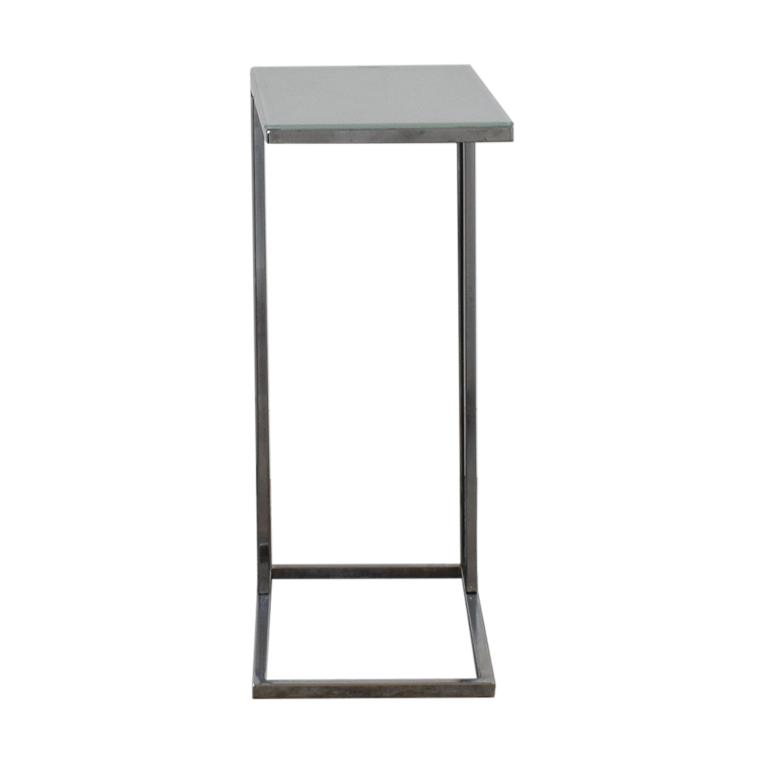 Shaded Glass and Chrome L Side Table dimensions