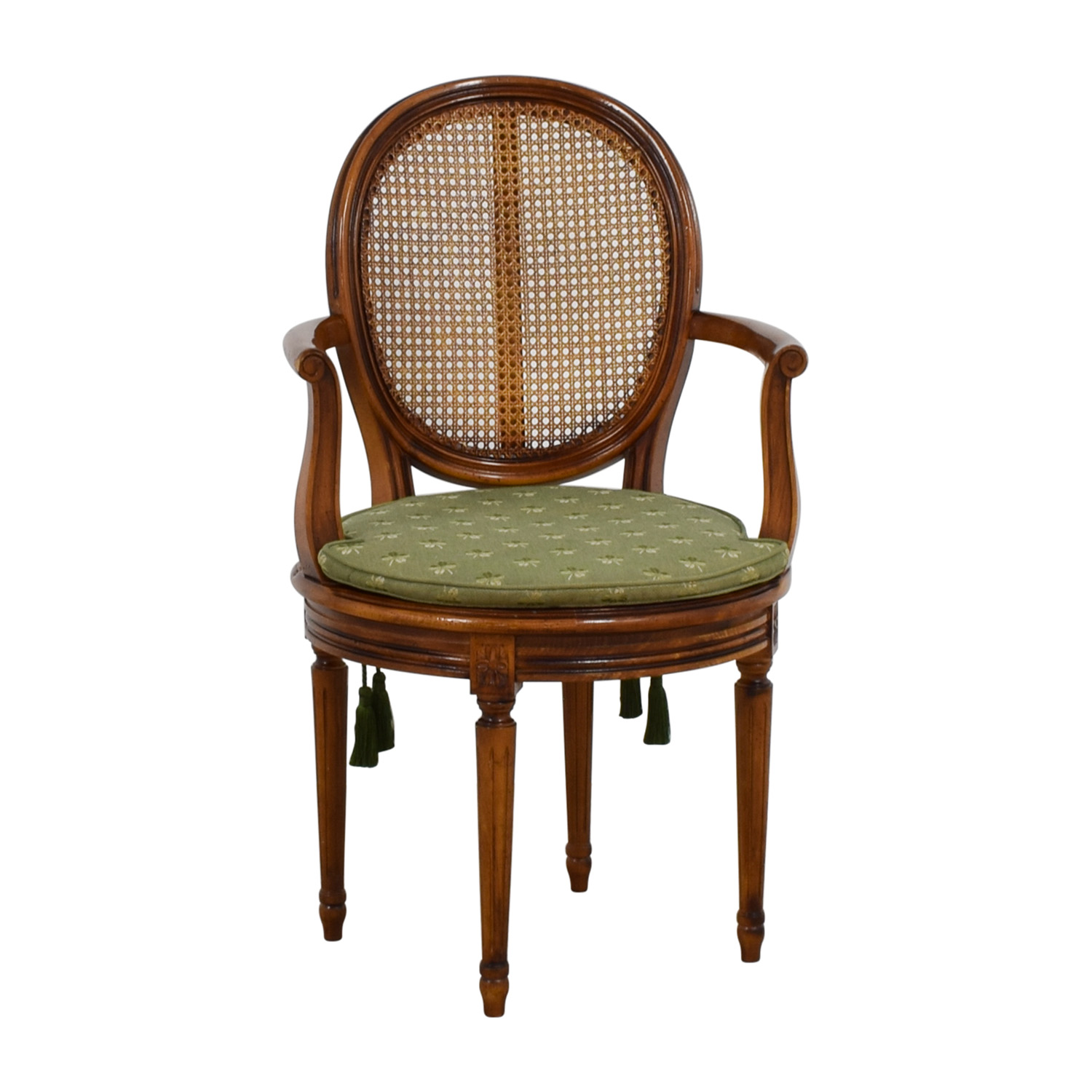 Reproduction Green Four Leaf Clover Swivel Arm Chair for sale
